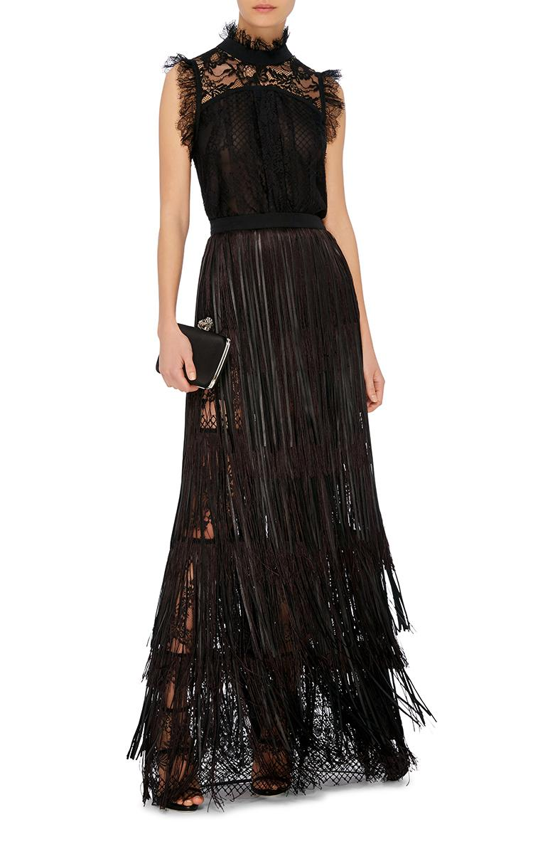 elie saab leather fringed maxi skirt in black lyst