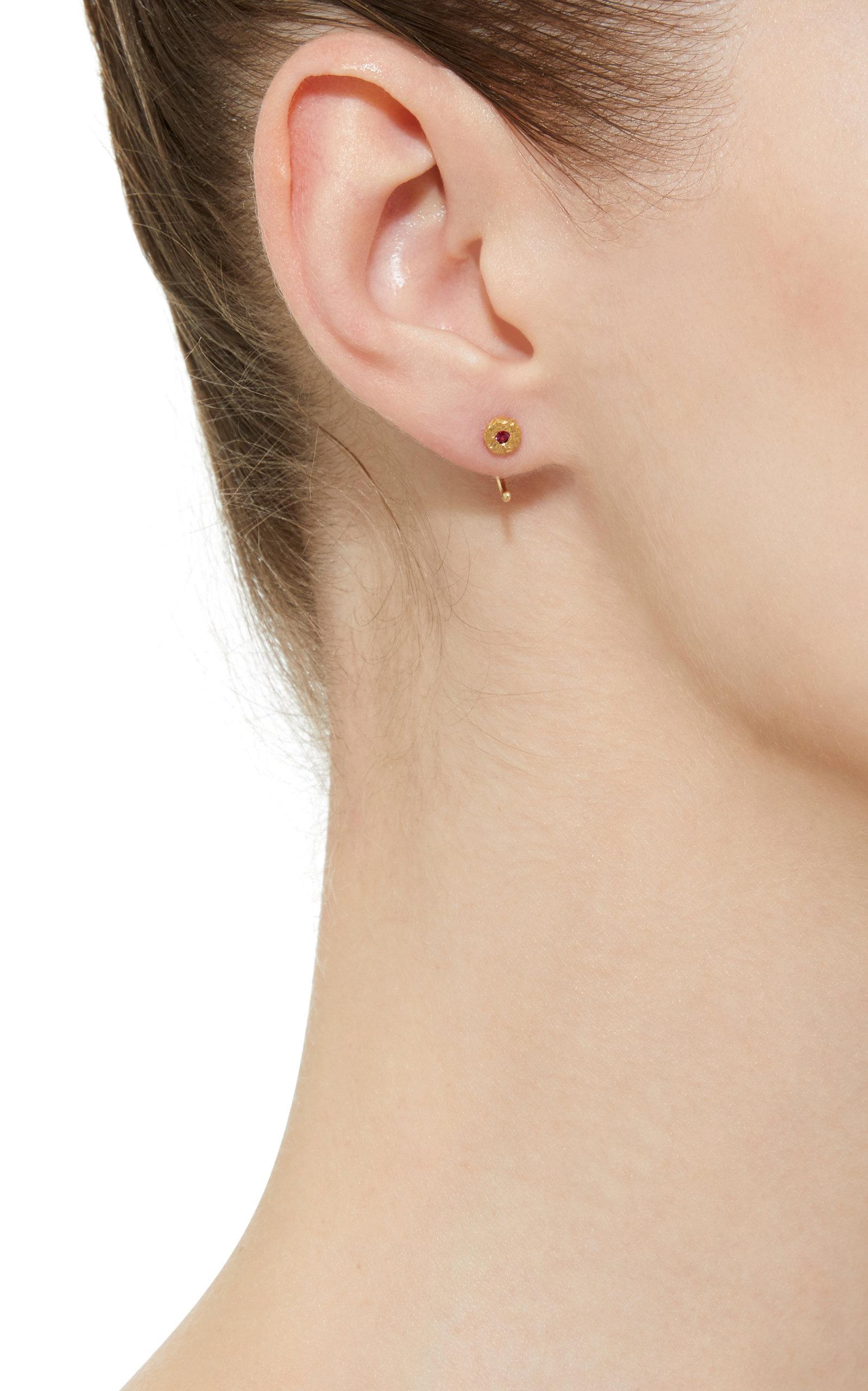 aeebc90db Octavia Elizabeth - Red Ruby Nesting Gem 18k Gold Ruby Earrings - Lyst.  View fullscreen