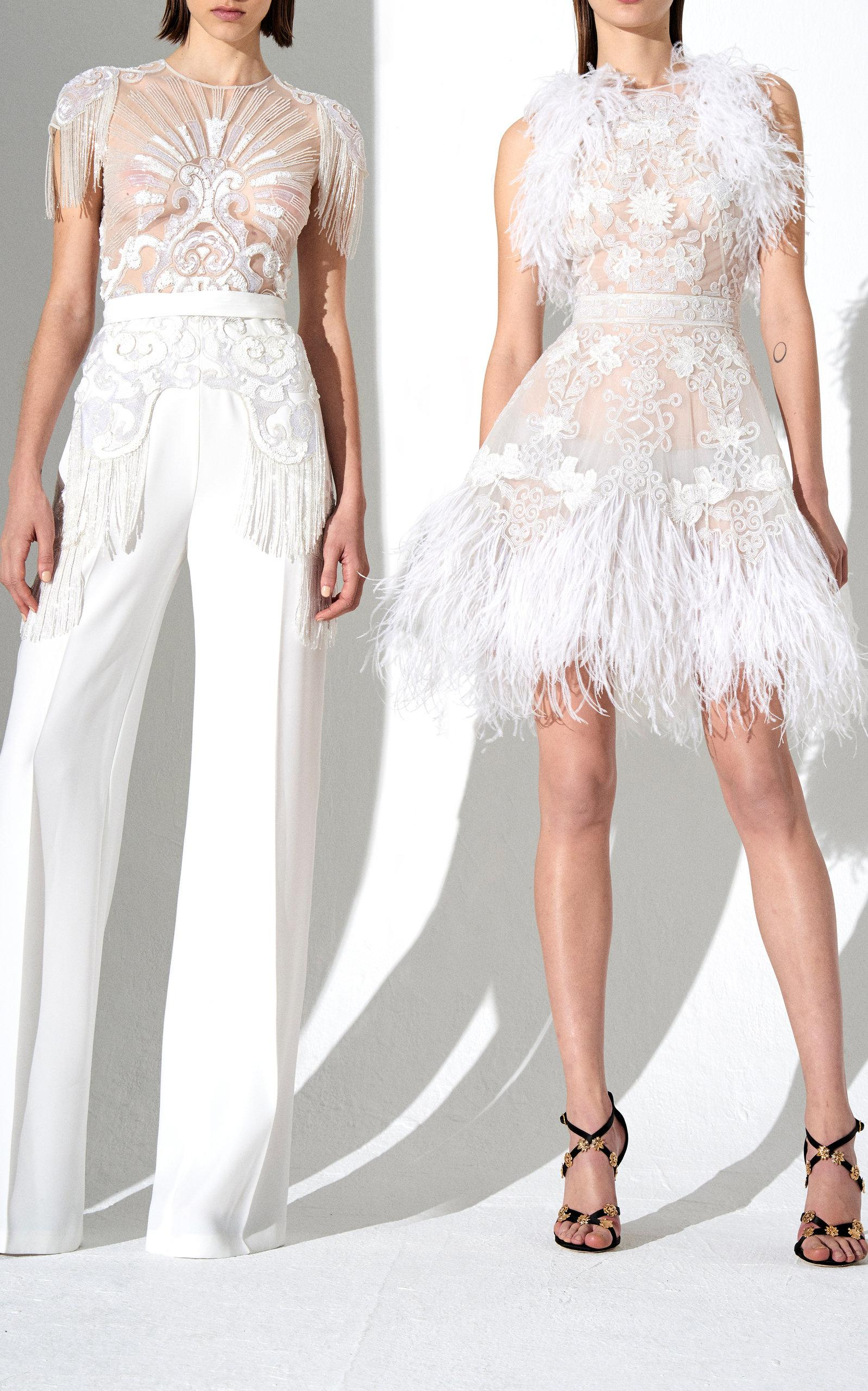 c9562c571115 Lyst - Zuhair Murad Embroidered Cady Wide Leg Jumpsuit in White