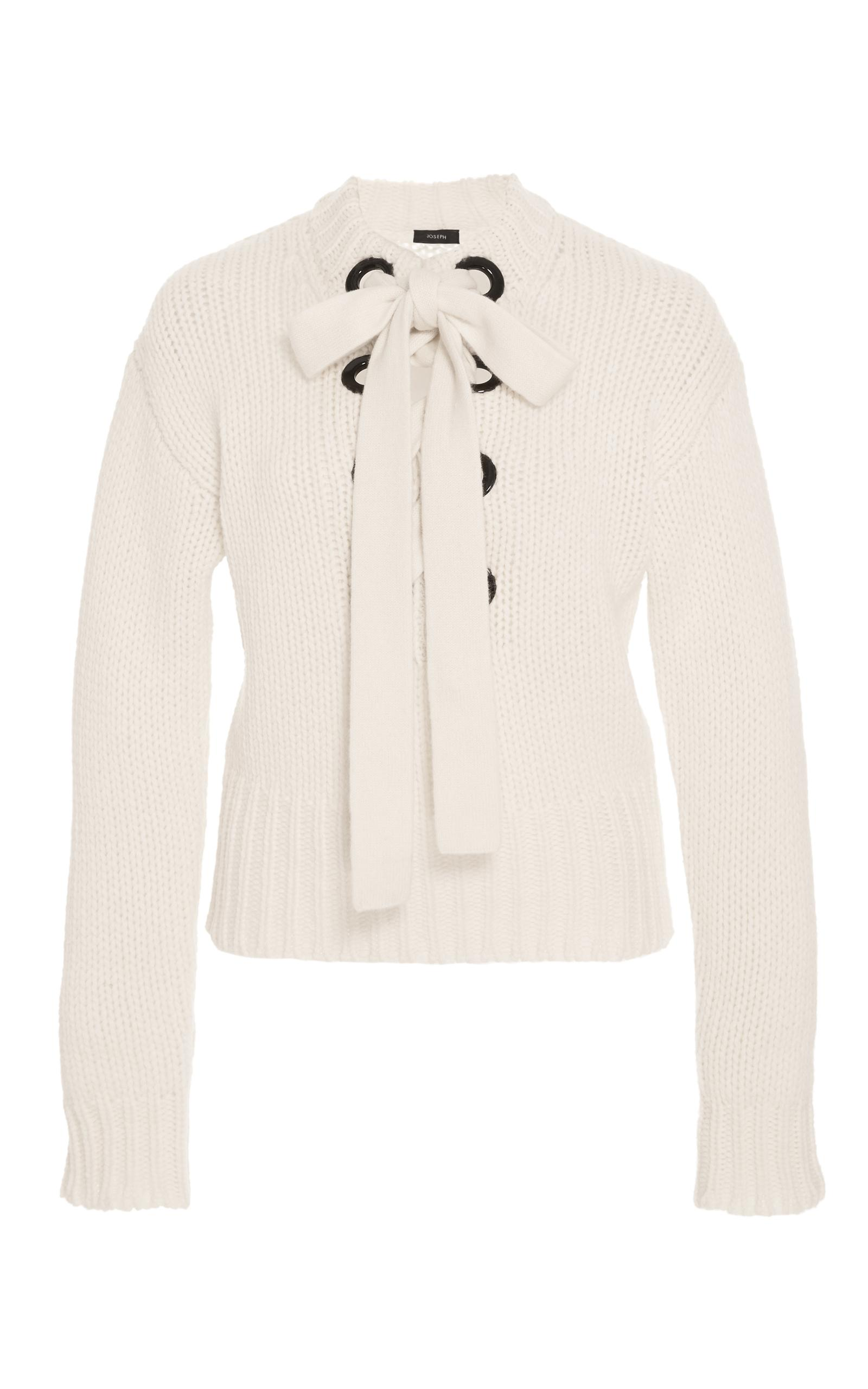 Joseph Chunky Cashmere Lace Up Sweater in White | Lyst