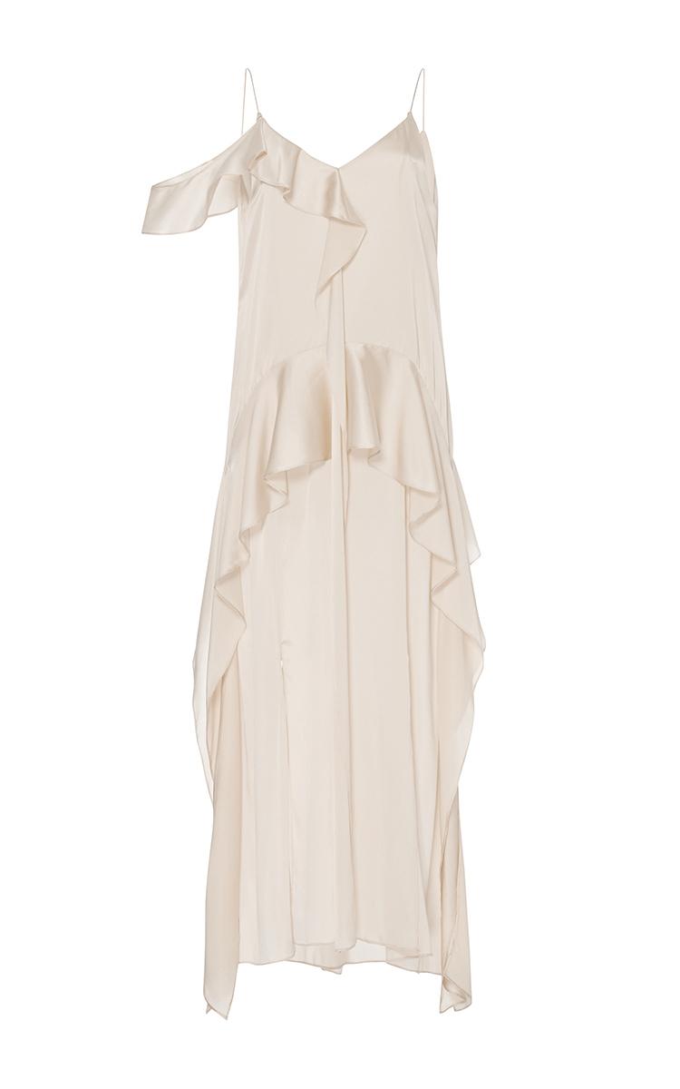 Jonathan Simkhai Silk Ruffle Midi Dress In Blue Ivory Lyst