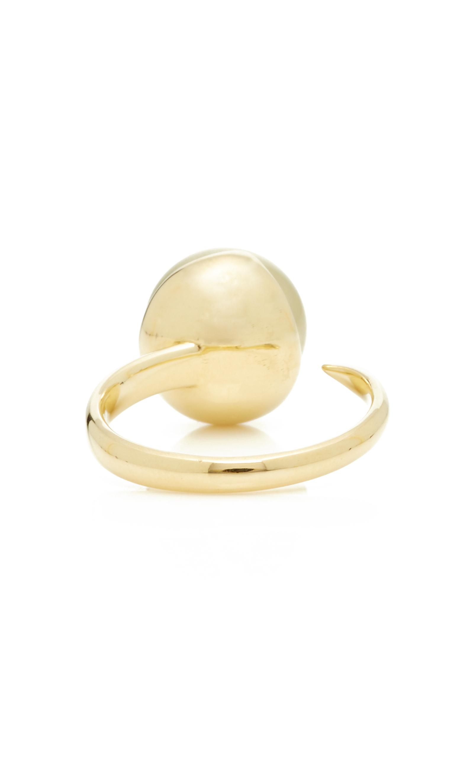 Mizuki Fluid Double Pearl Open Ring in 14K Yellow Gold 5LFmTN