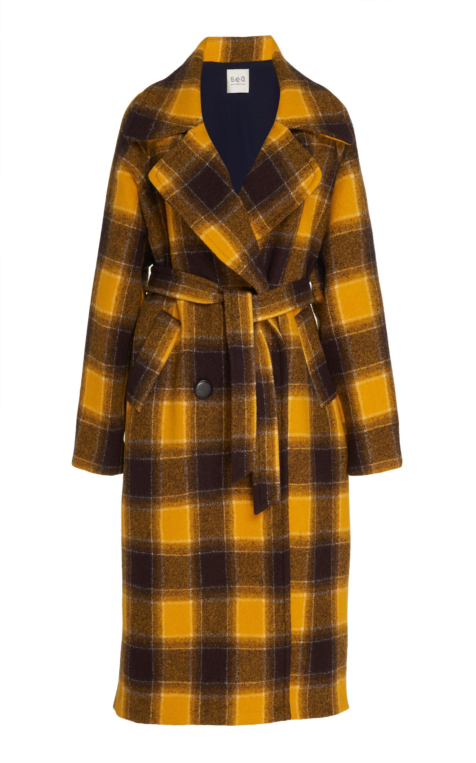 61839771f7c Sea. Women s Plaid Double Breasted Trench Coat