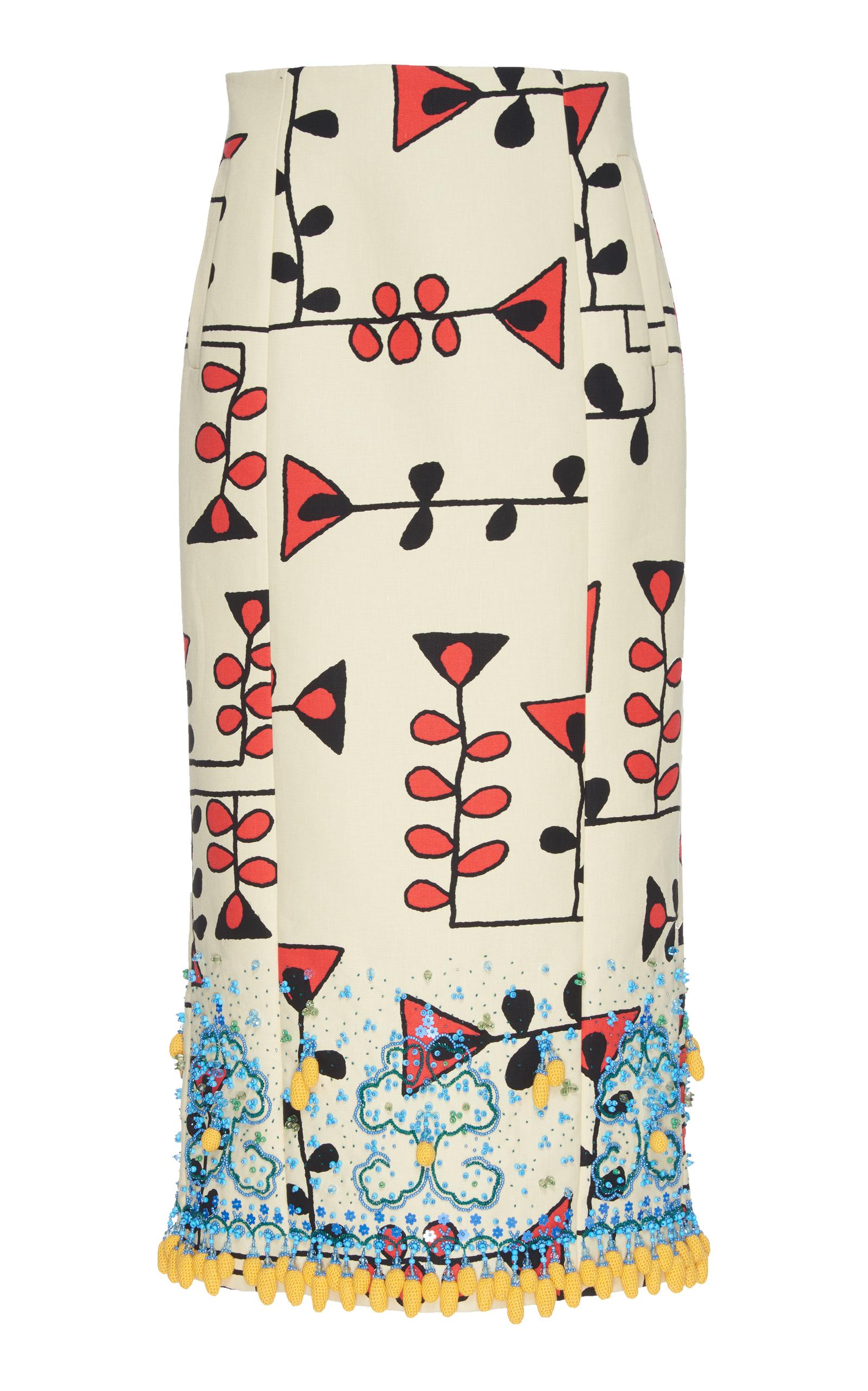 Marni bead embroidered canvas skirt lyst
