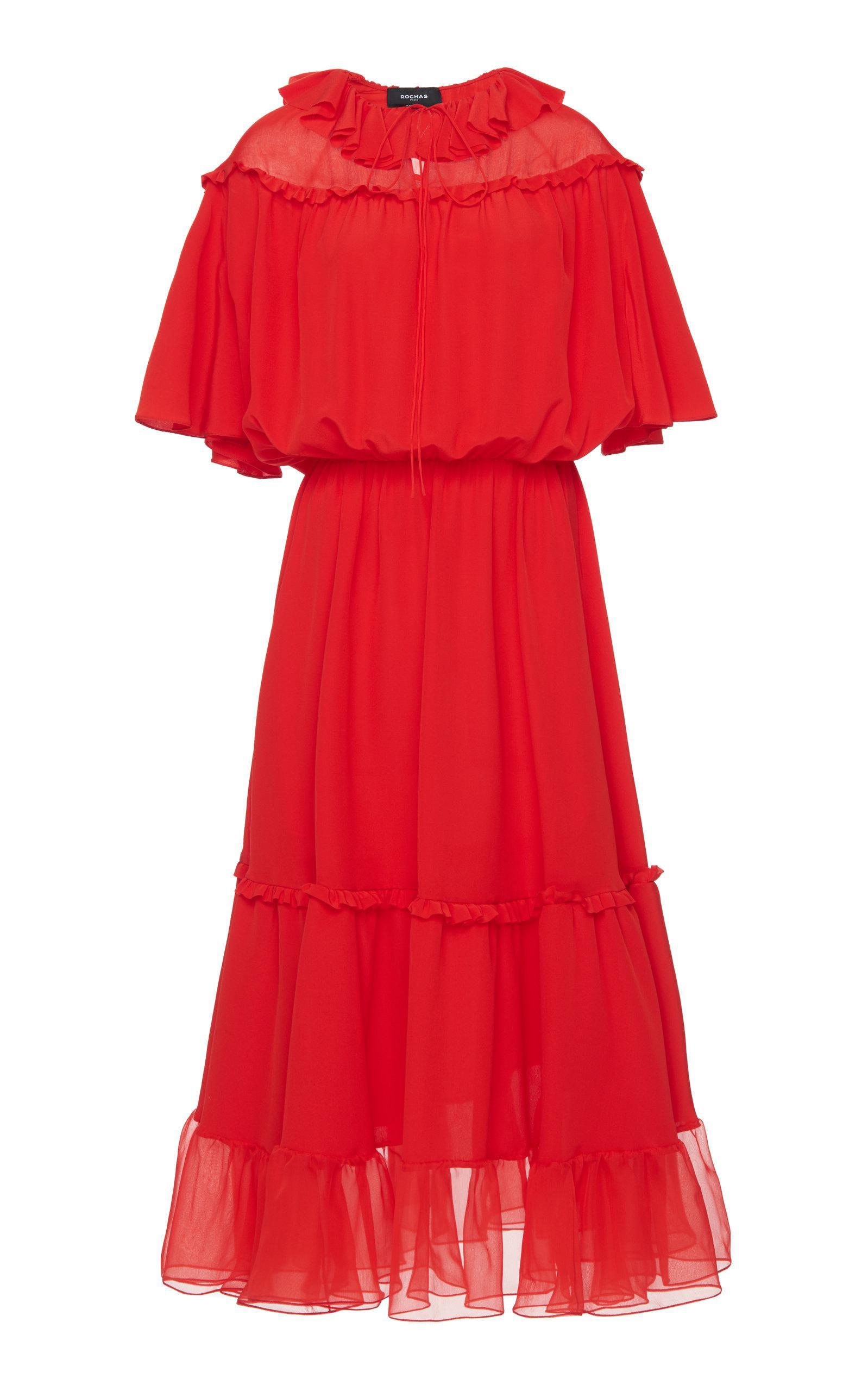 Obice Ruffle Silk Dress Rochas Discount New Styles rvX8N