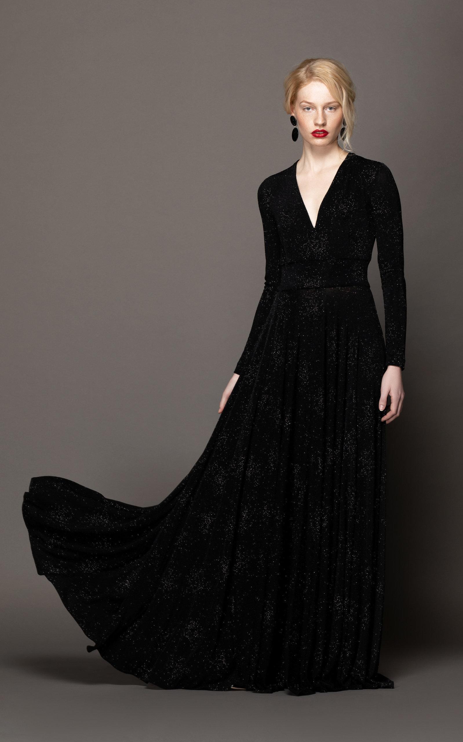 efba9485407 Lyst - Lilli Jahilo Star Glitter Jersey Long Sleeve Gown in Black