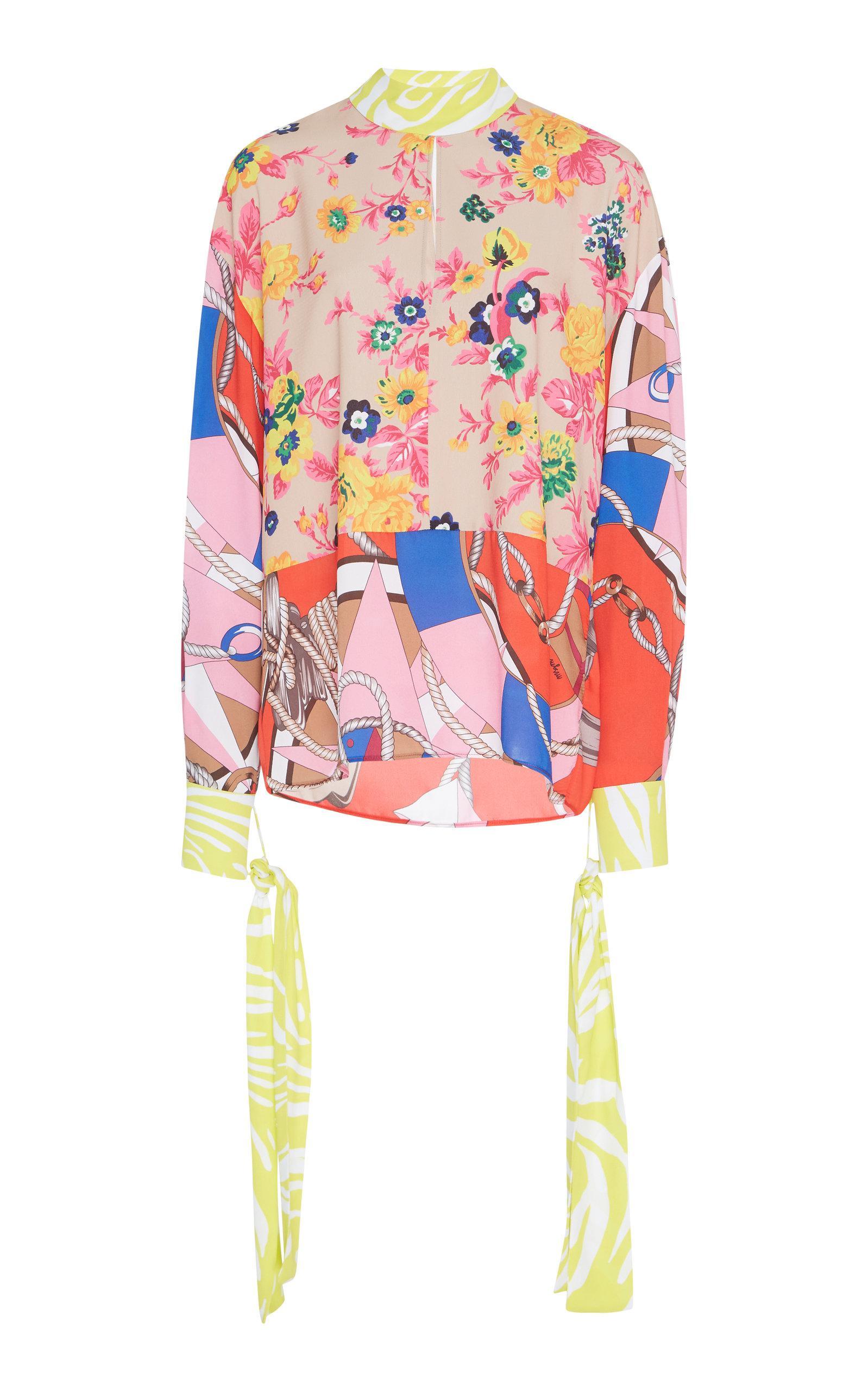 Multi Print Neck Tie Blouse Msgm Free Shipping 100% Original l9fHMa