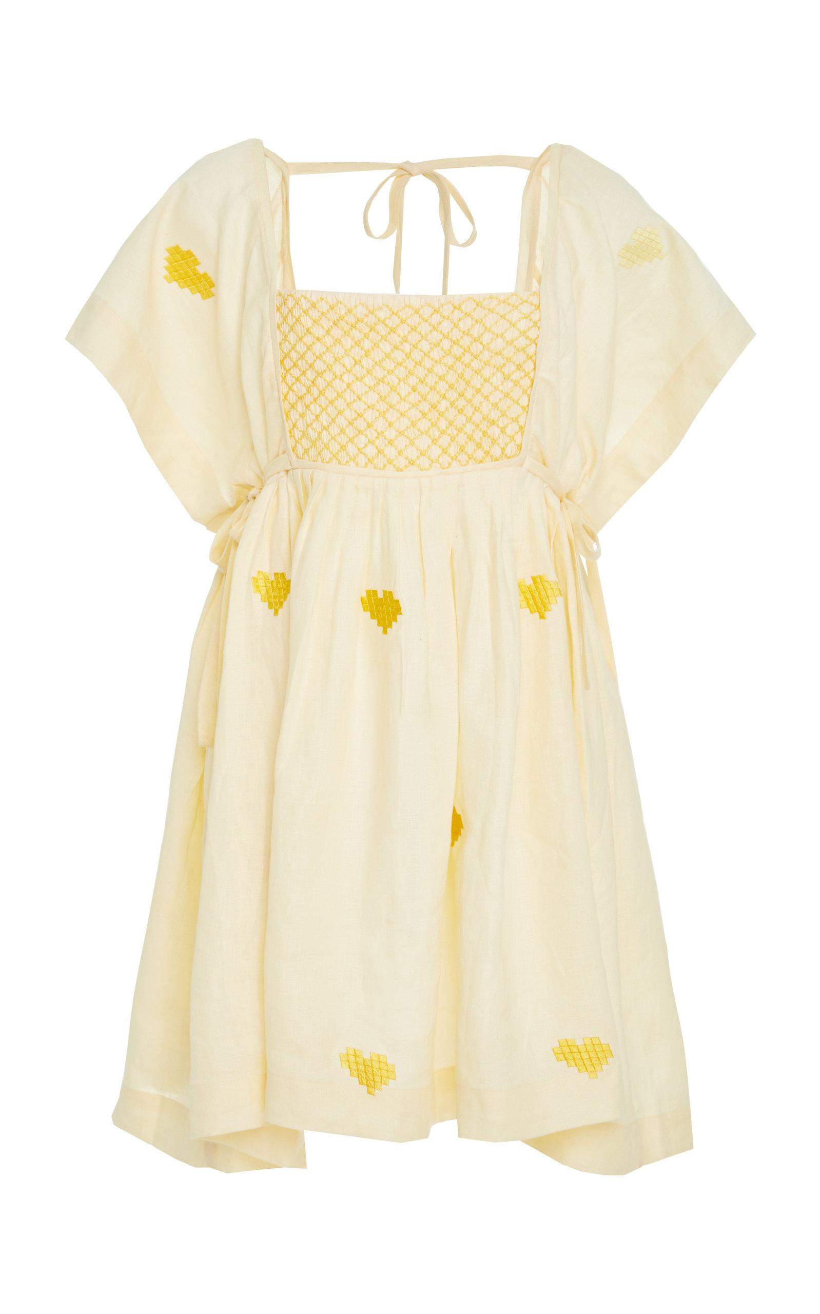 8e57a2daae8 Lyst - Innika Choo Farmer Smock Linen Dress in Yellow