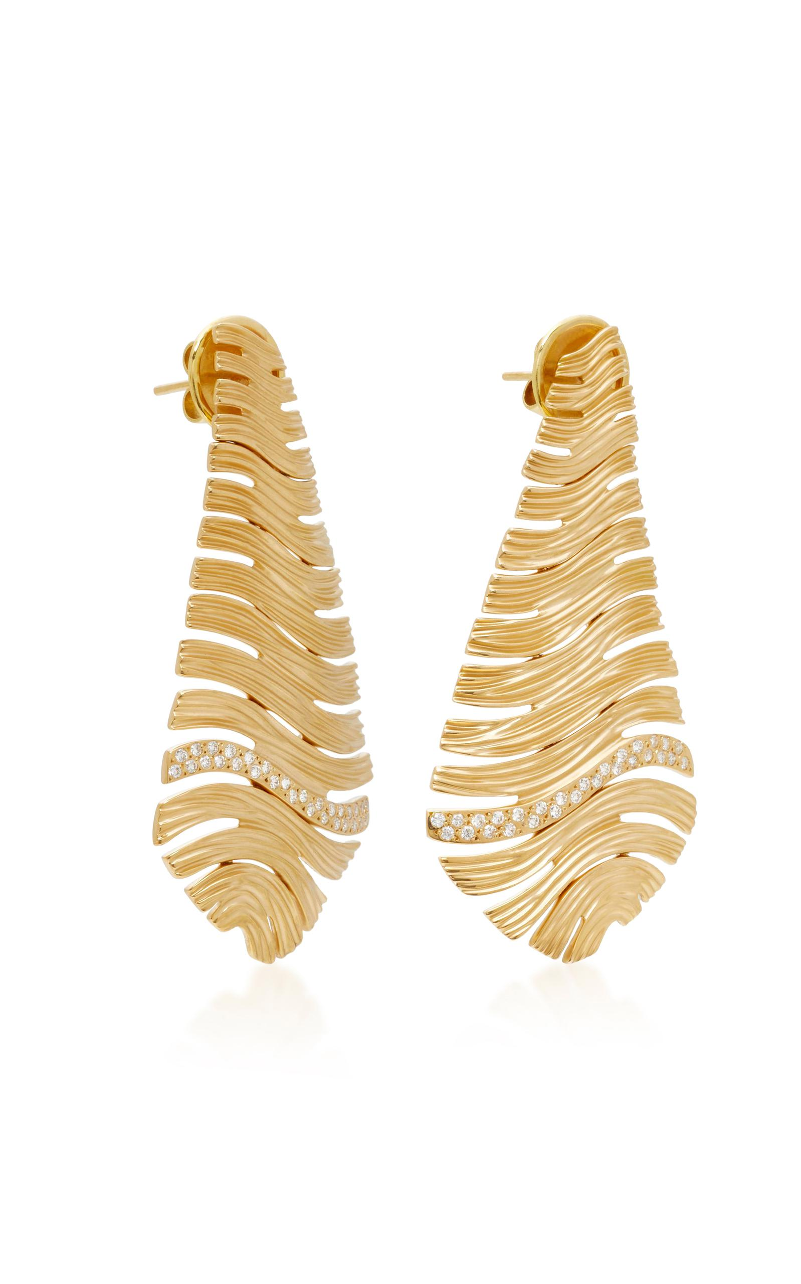 Plisse 18K Gold Diamond Earrings Hueb BciHwQQAVh