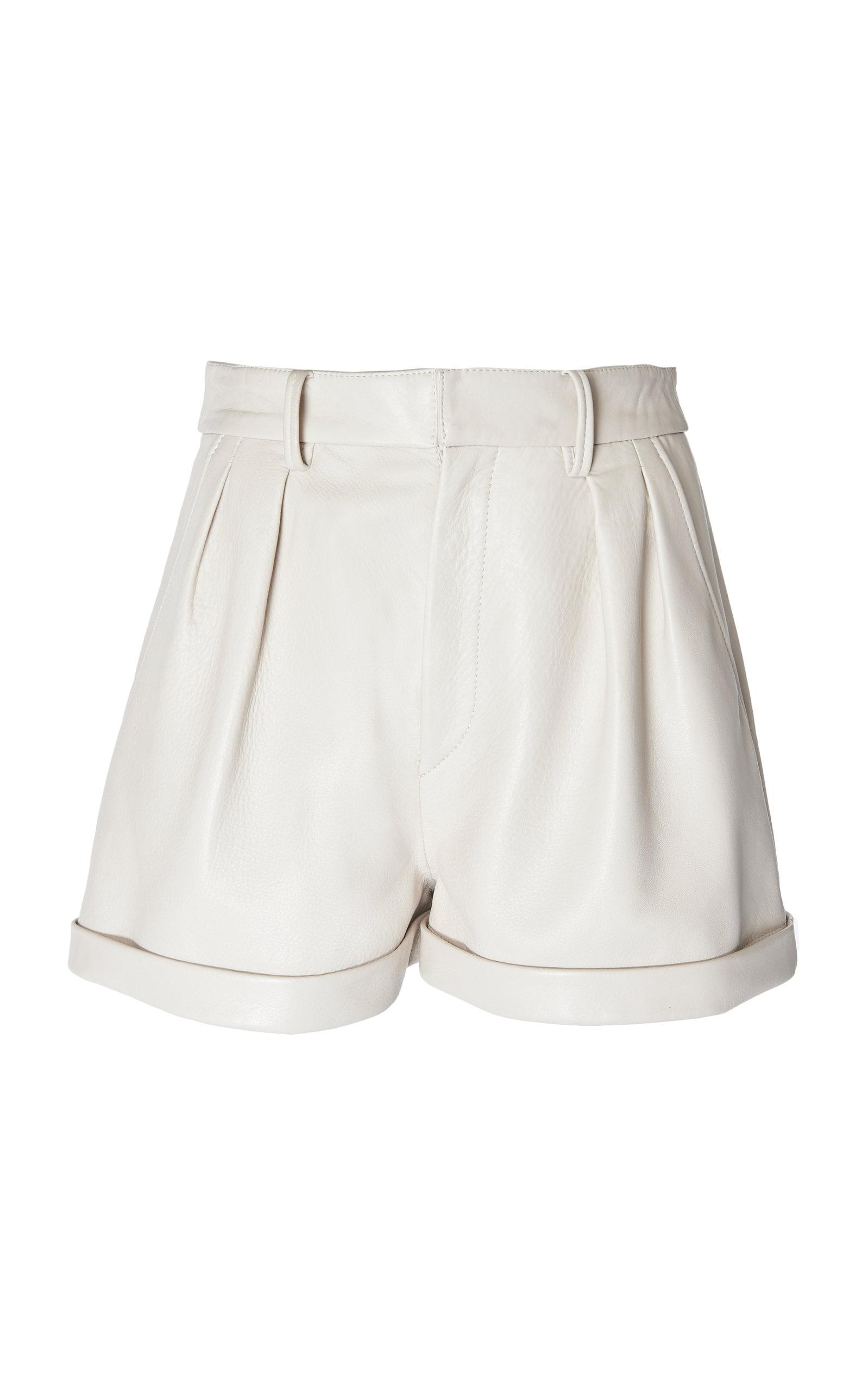 29e4191db2 Isabel Marant Fabot Leather High Waisted Cuffed Shorts in White - Lyst