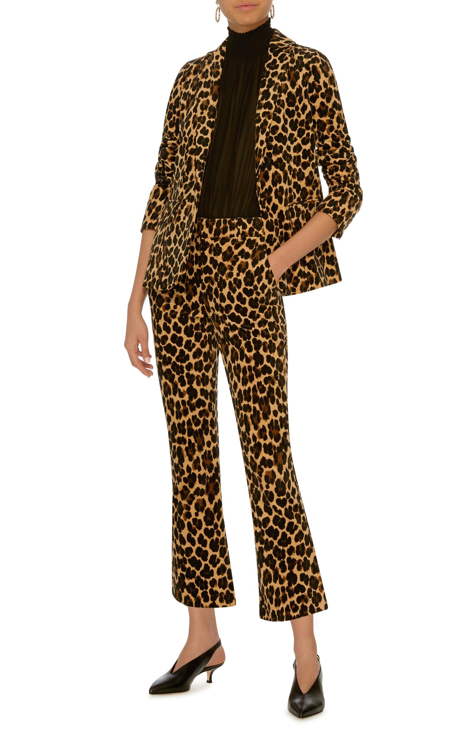 7ac53f652835 FRAME Leopard-print Velvet Flared Pants - Lyst