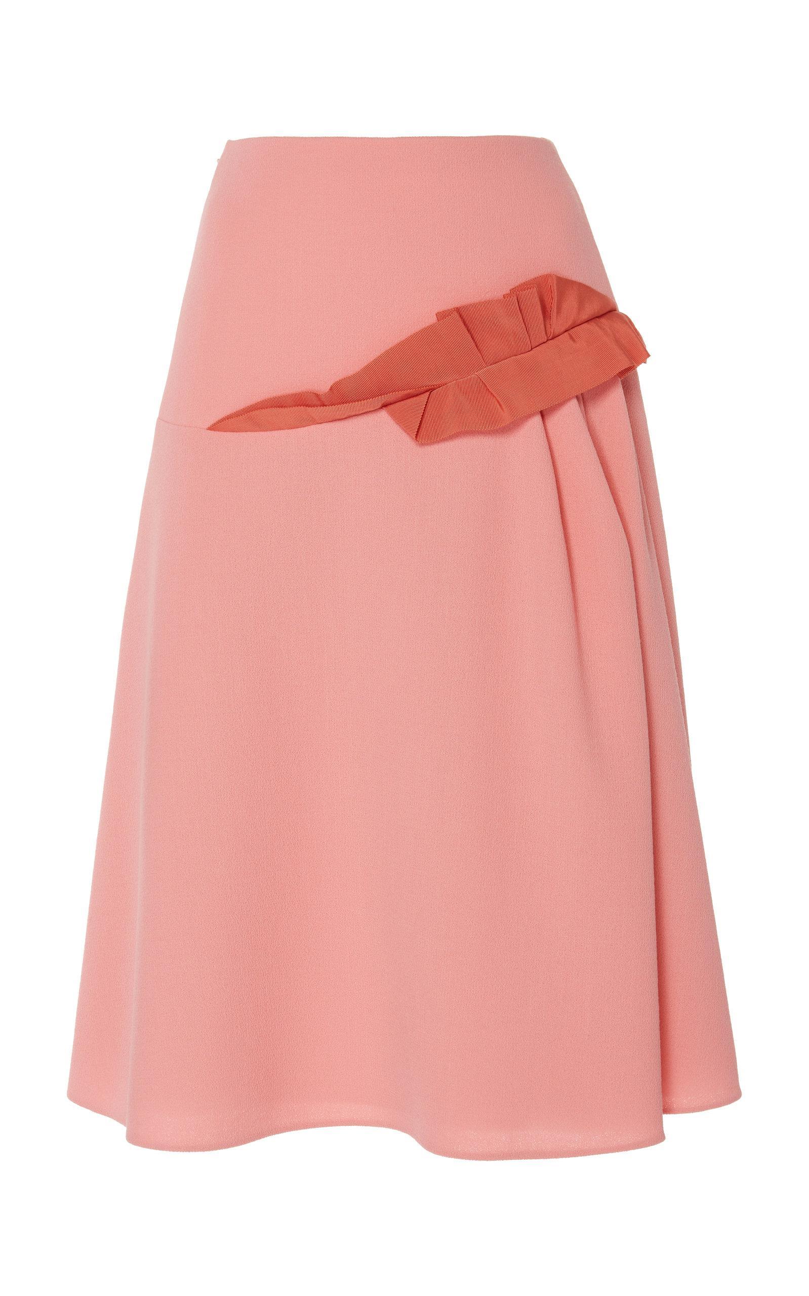 24c23bb4ad Delpozo Grosgrain Crepe Midi Skirt in Pink - Lyst