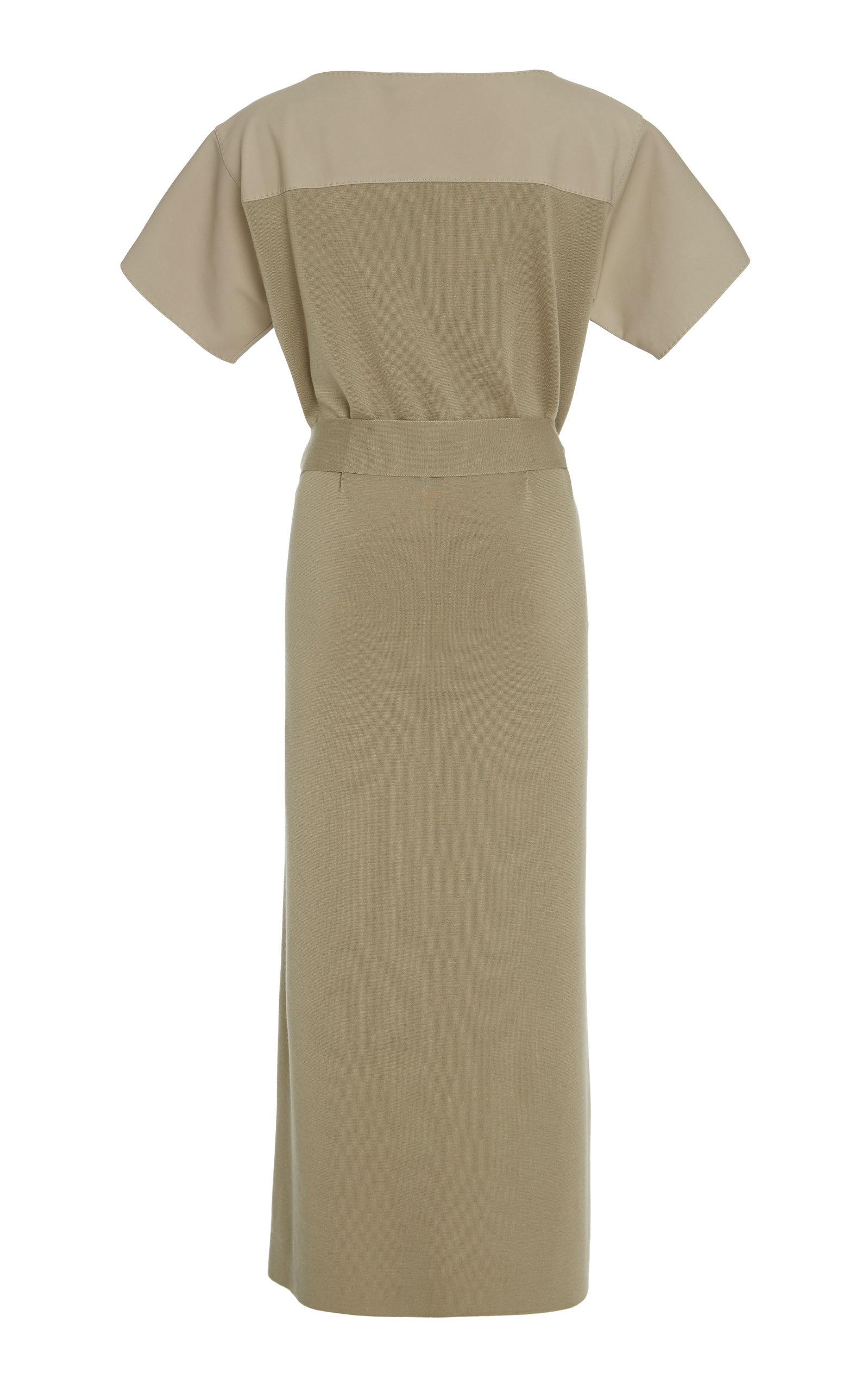 bfe8ac5485 Agnona - Green Belted Wool-blend Panel Midi Dress - Lyst. View fullscreen