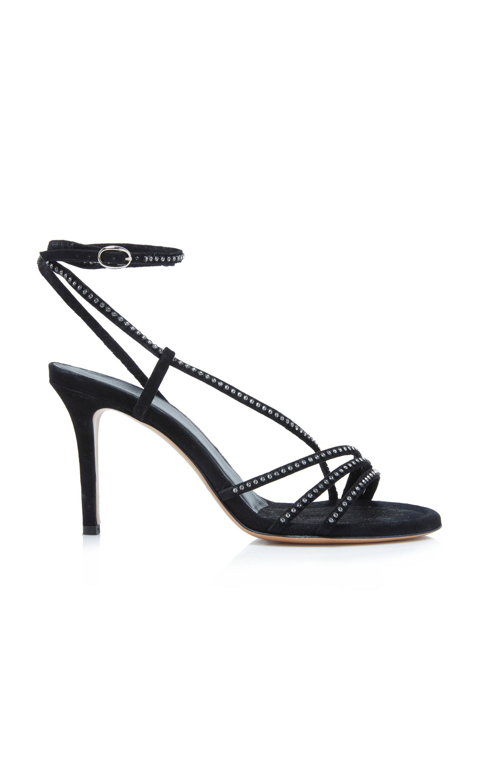 2e6e3b289a2 Lyst - Isabel Marant Amspee Crystal-embellished Suede Sandals in Black