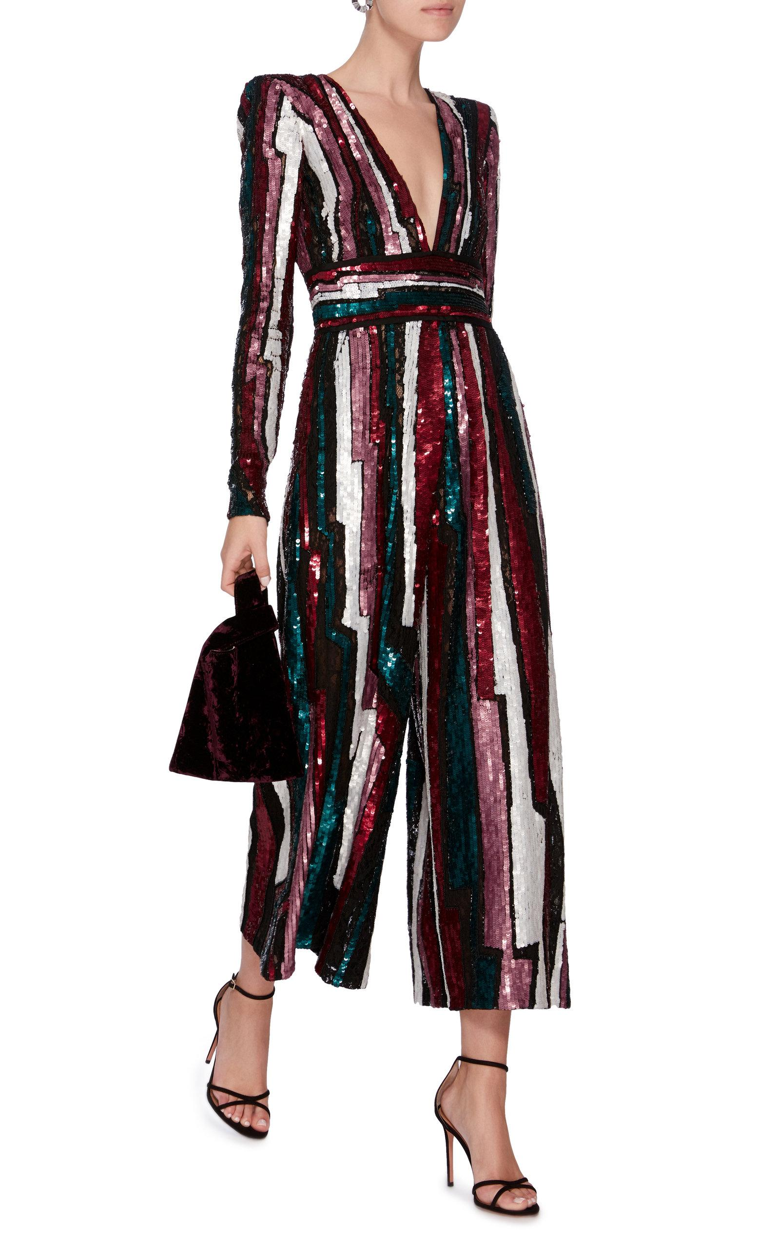 5ccfa640564 Lyst - Zuhair Murad Striped Sequined Tulle Jumpsuit