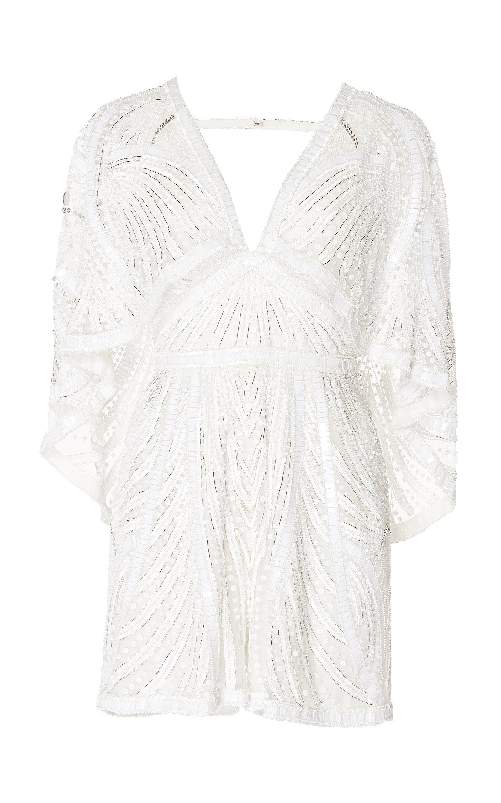 bc46e5f328 Zuhair Murad Cape-sleeve Embroidered Jumpsuit in White - Lyst