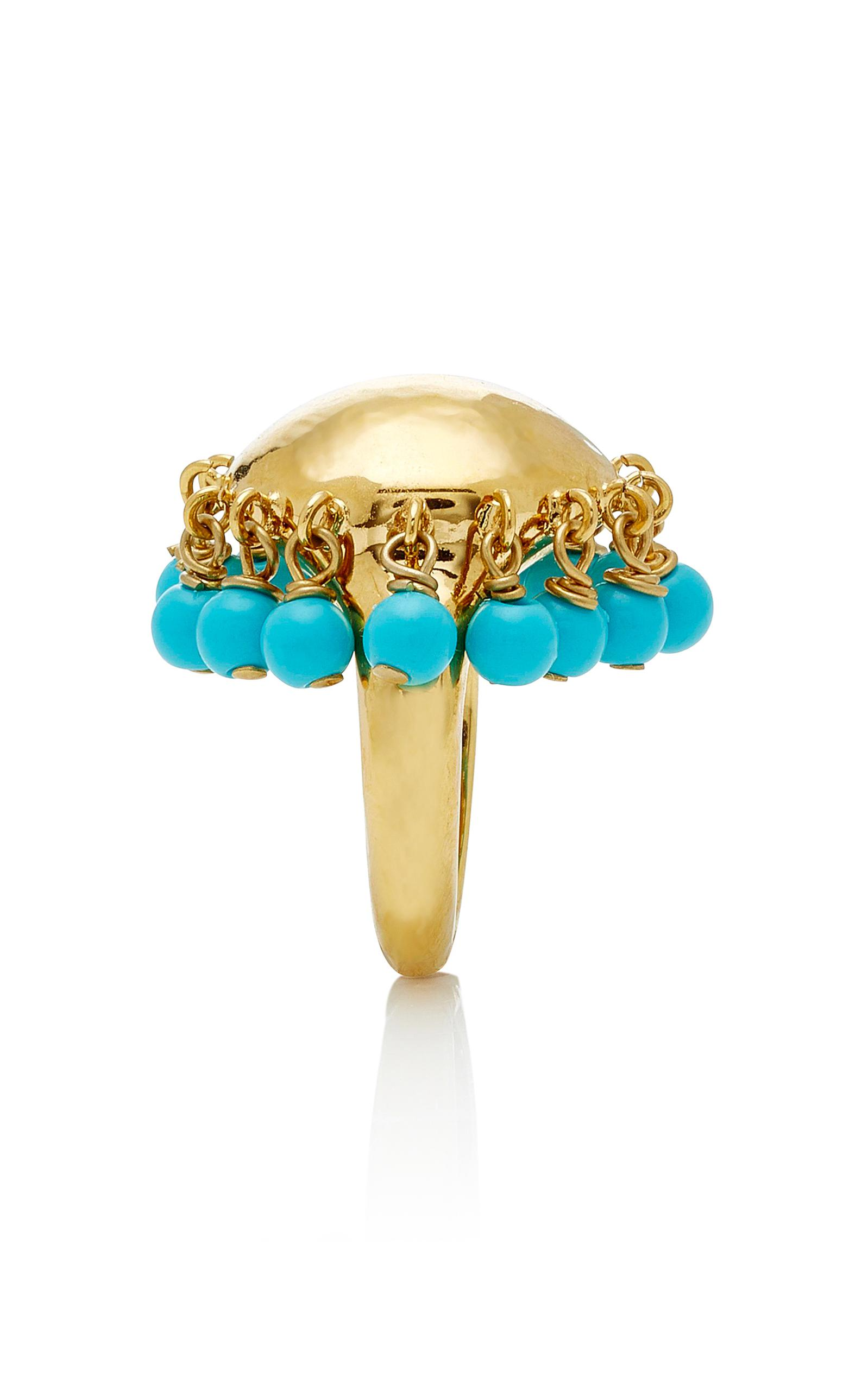 Ana Ring in Turquoise Resin and 18K Gold-Plated Brass Aur TXzz1