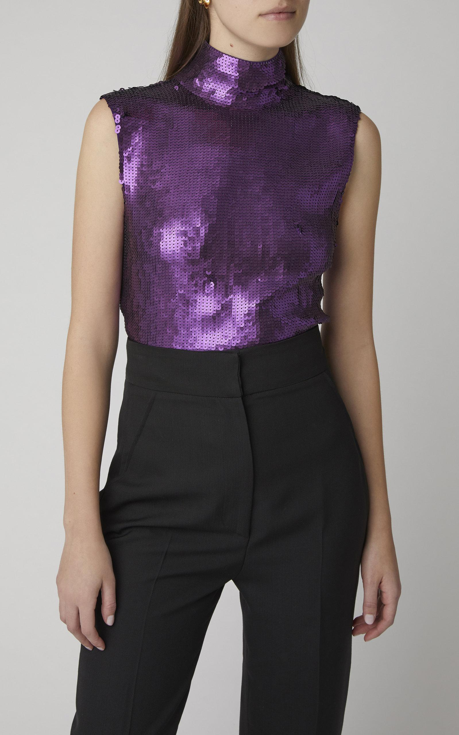 ff9ef67639e22 Tibi - Purple Sequin Turtleneck Shell Top - Lyst. View fullscreen