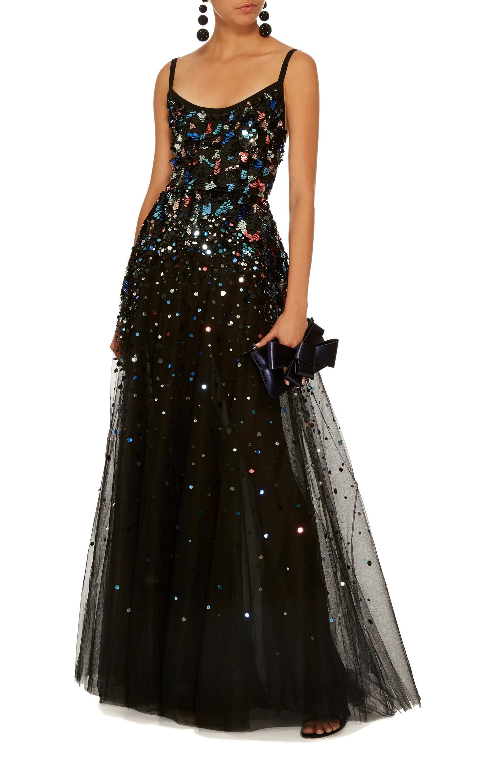 ef7a32a3 Elie Saab Sequin Embroidered Tulle Gown in Black - Lyst