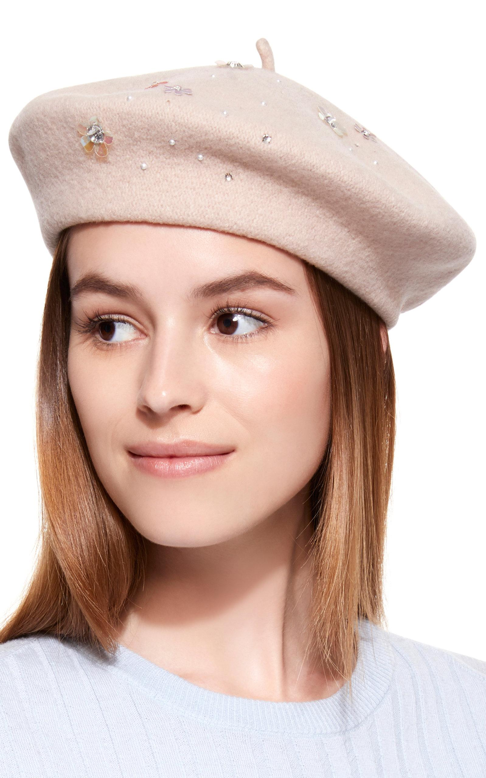 0ab8dd2cfb418 Yestadt Millinery Sequin Embellished Wool Beret in Natural - Lyst