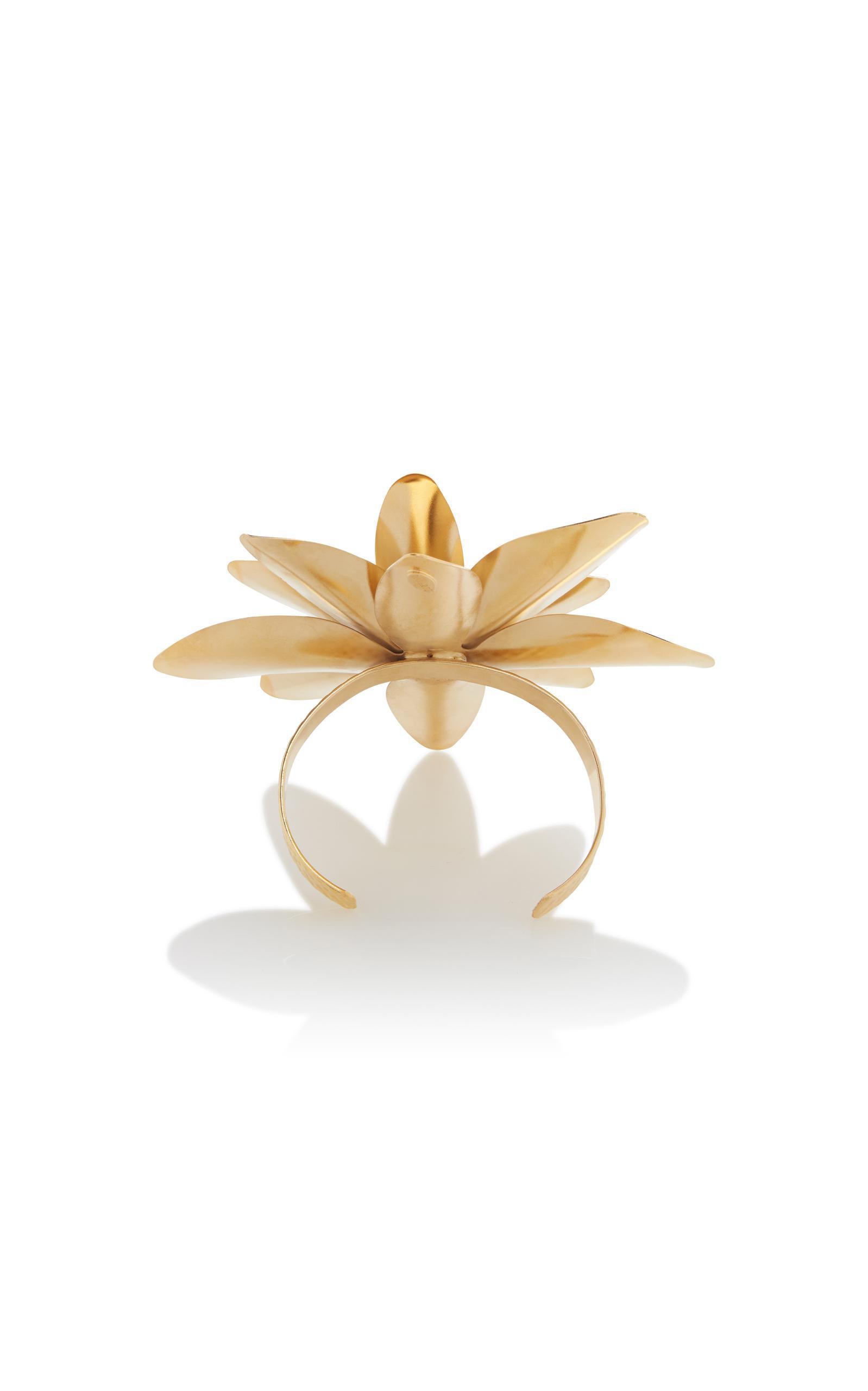 Gold Lotus Flower Arm Cuff with Swarovski Crystal Detail Rodarte FS0xM6im