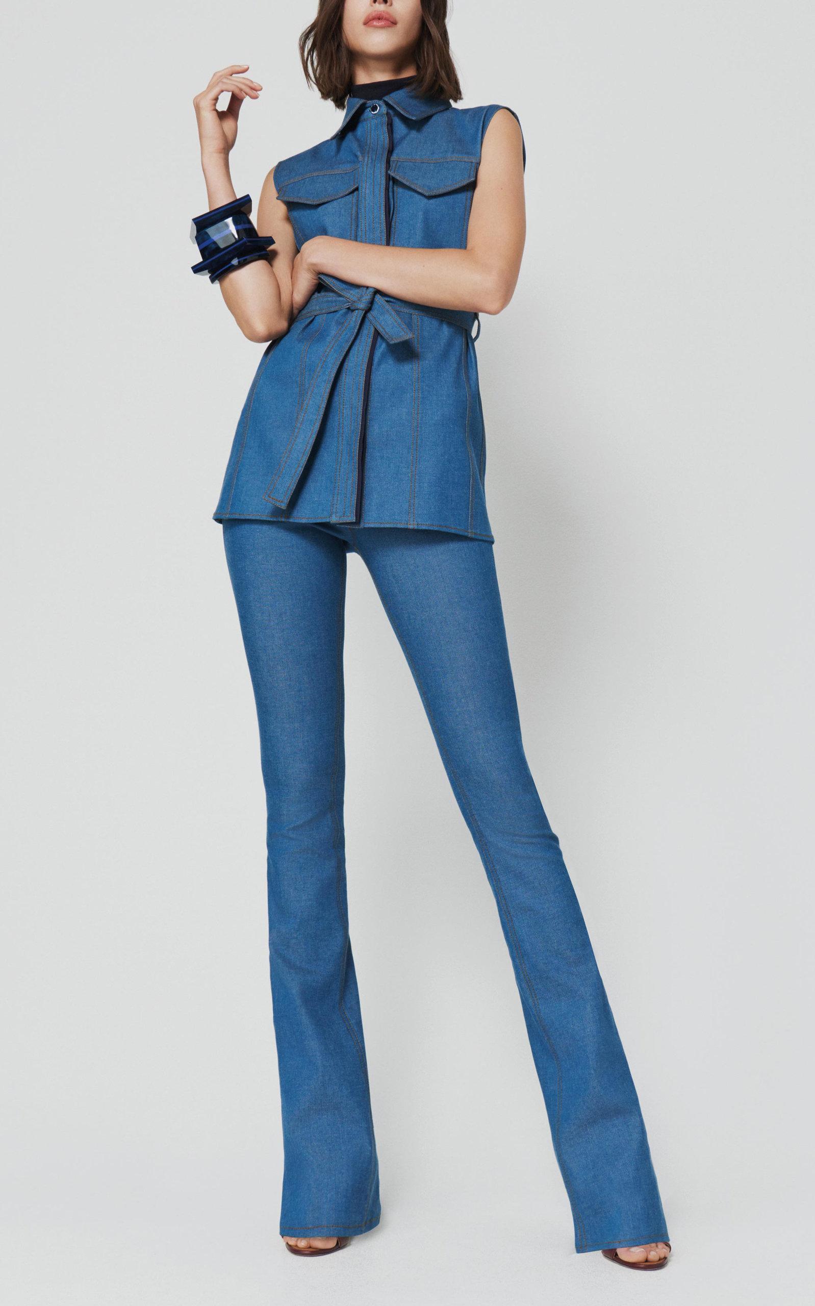 4c201e65ee4e17 ... Victoria Beckham - Blue Belted Sleeveless Denim Shirt - Lyst. View  fullscreen