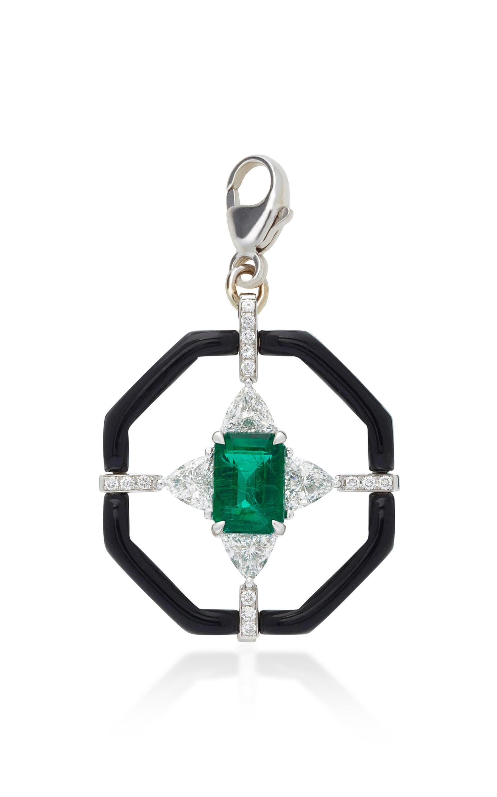 Nikos Koulis 18k Oui Diamond & Black Enamel Necklace w/ Emerald Xfd5xLE