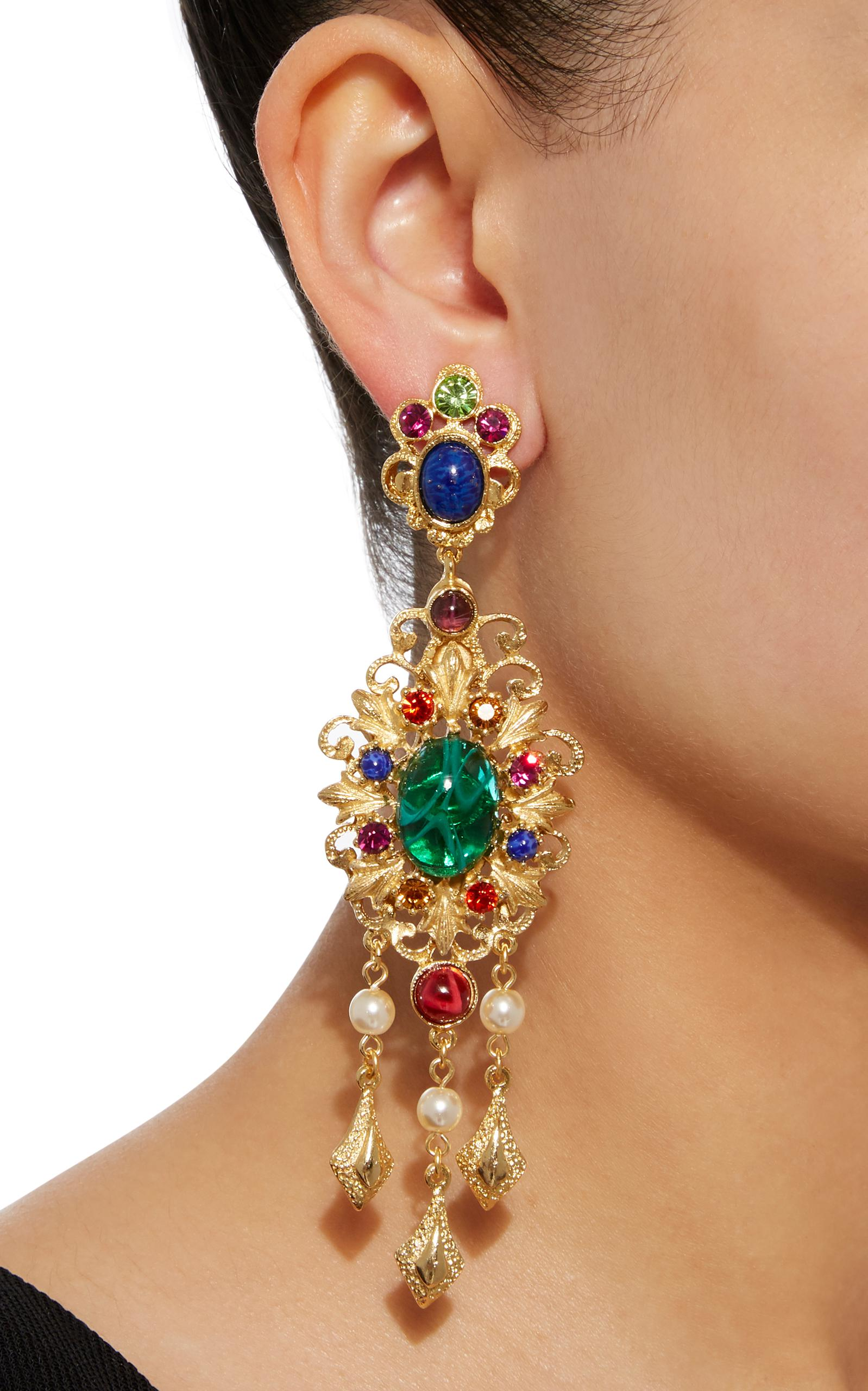 Gold-Plated Brass Crystal Chandelier Earrings Ben-Amun GbrORwlMSA