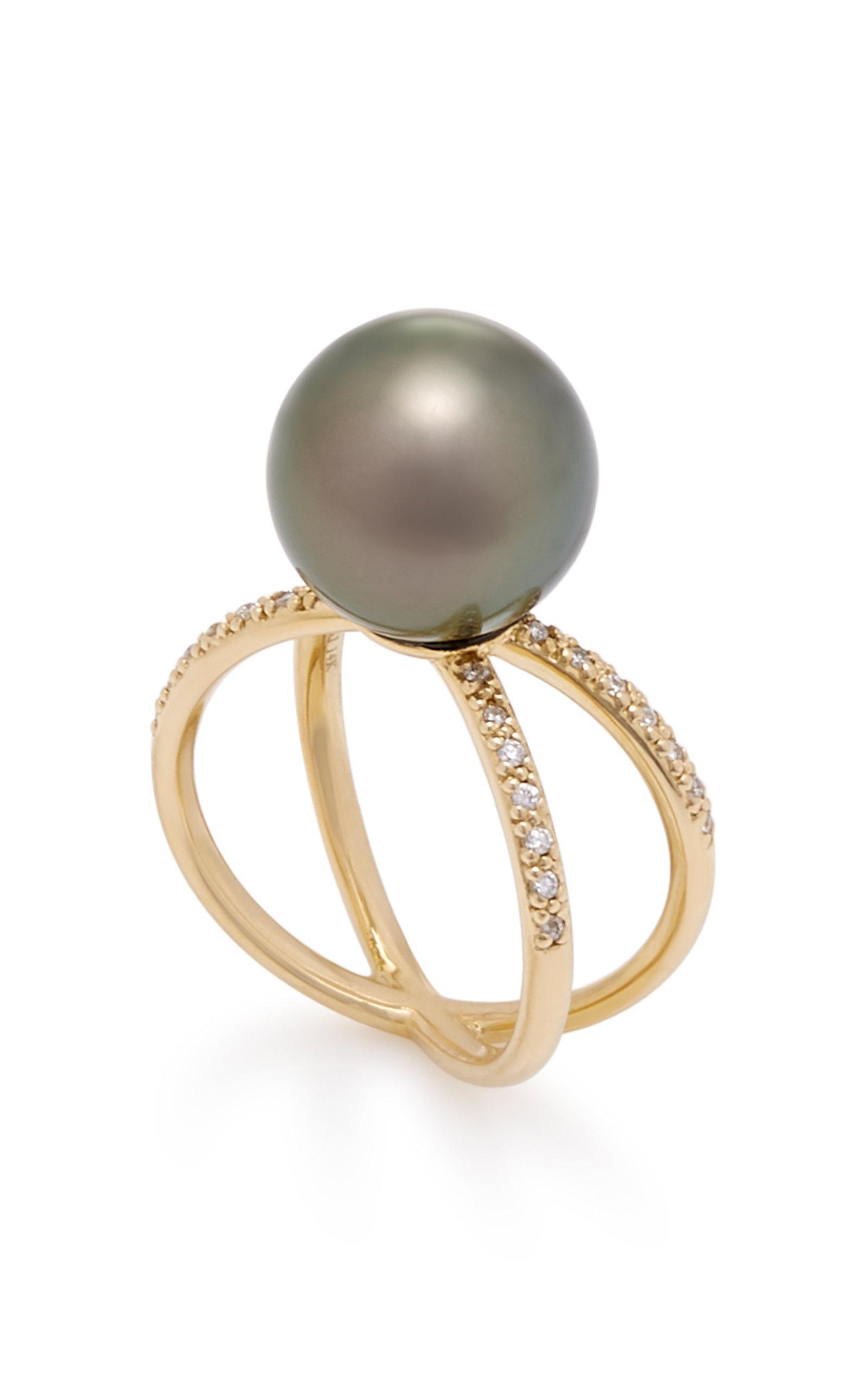 One-Of-A-Kind Black Tahitian Pearl & Diamond Crossover Ring Mizuki QNupXIyl