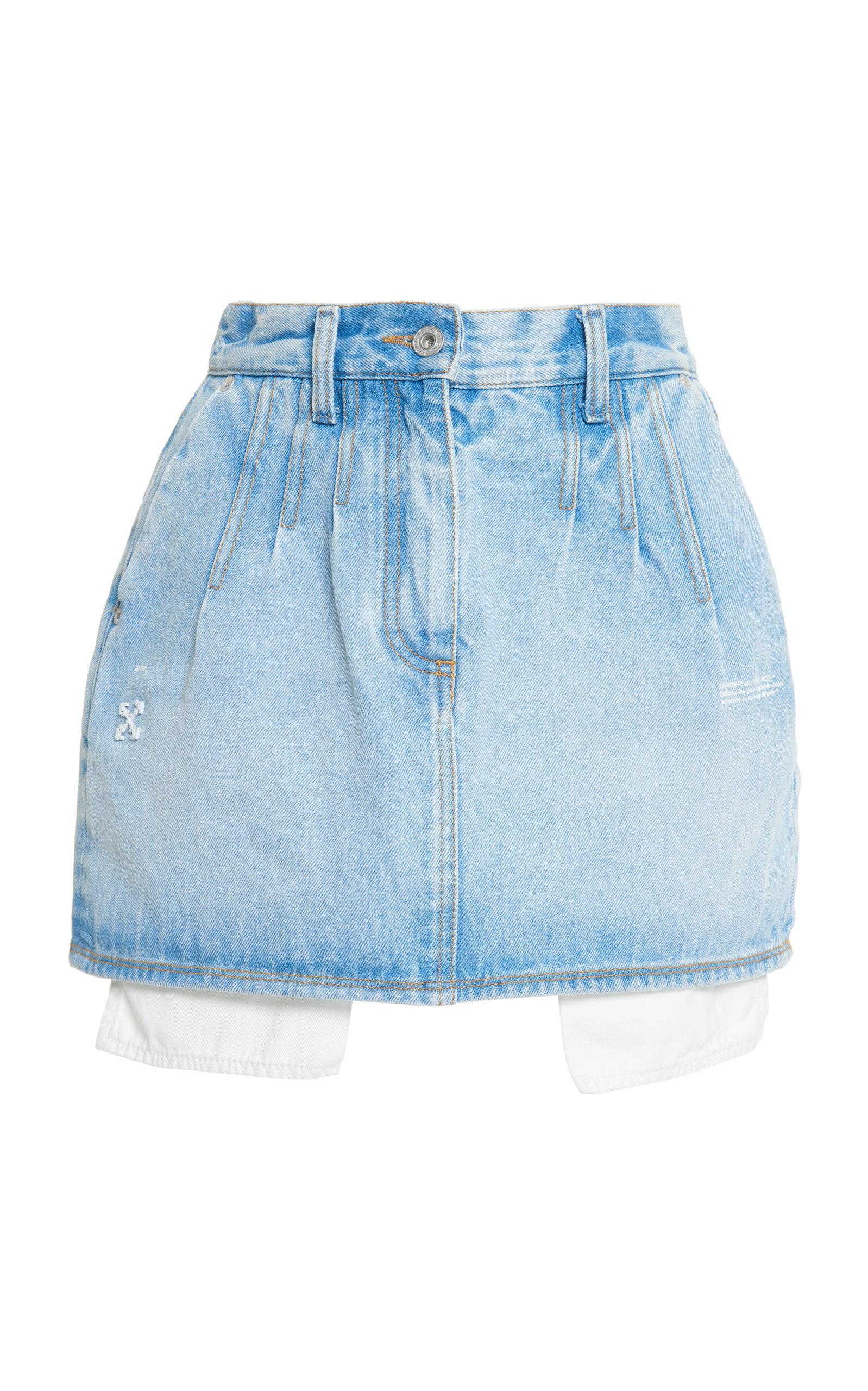 d8d45fcb1d Lyst - Off-White c/o Virgil Abloh High-rise Denim Mini Skirt in Blue