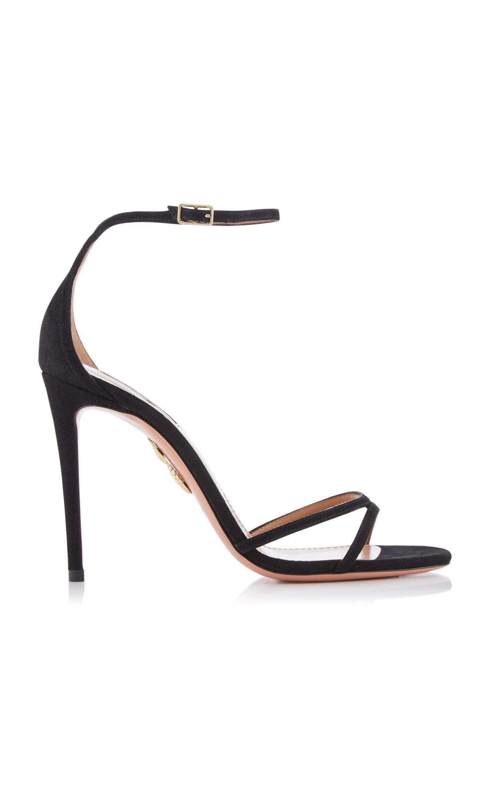 6408fa9ffdf Lyst - Aquazzura Purist Suede Sandals in Black