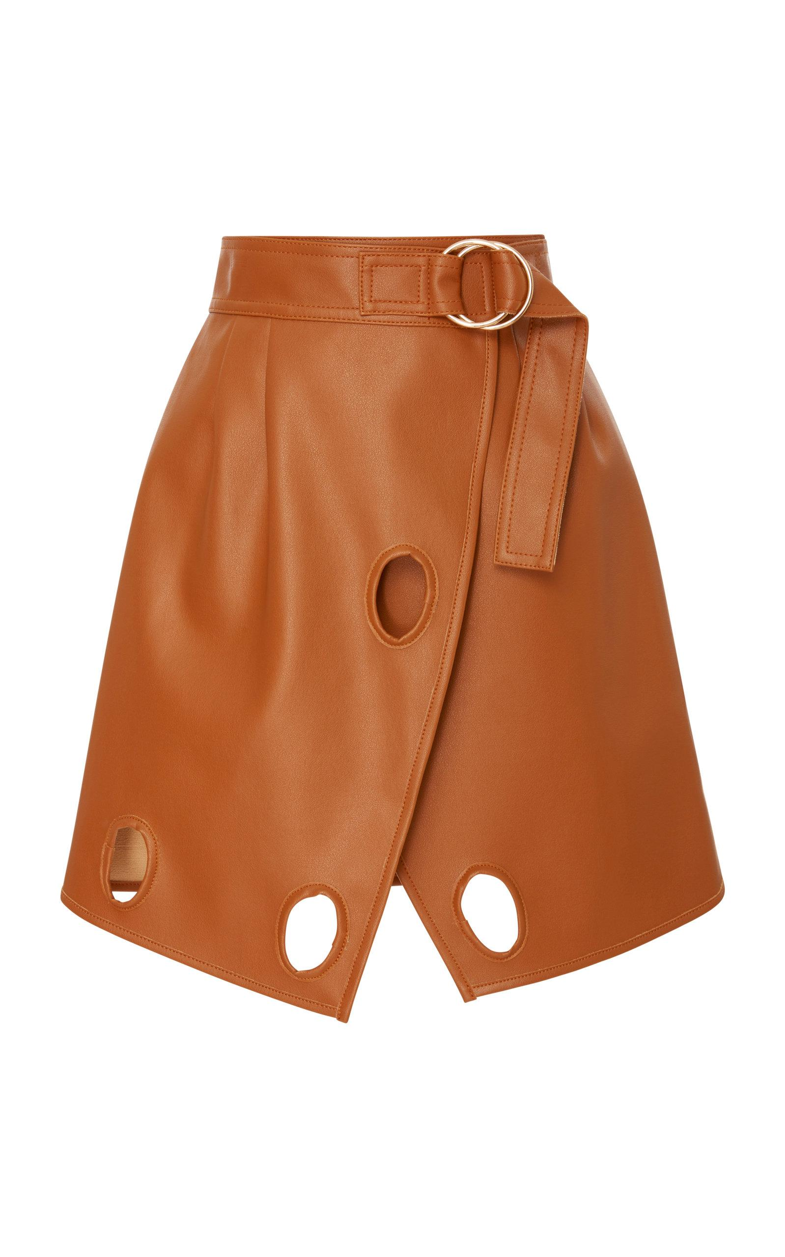 1f4f421fa5 Brown Faux Leather Wrap Skirt – DACC