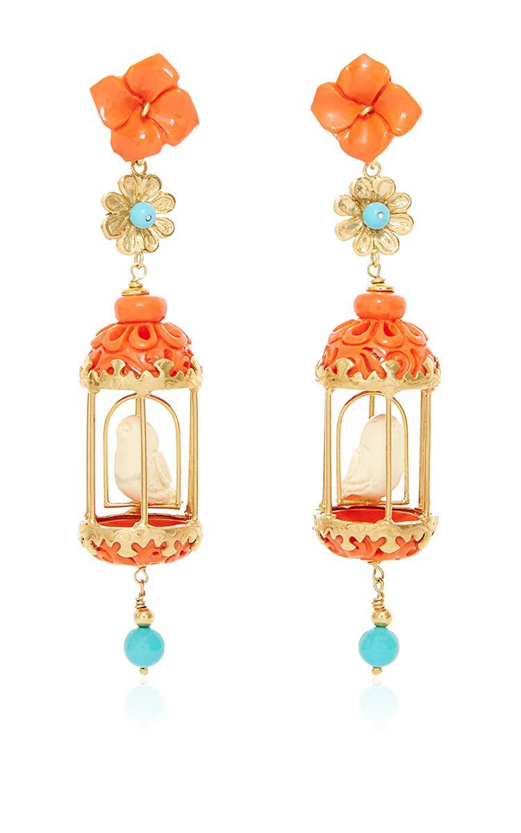 Of Rare Origin Aviary Gold Vermeil Multi-stone Earrings - Coral 61jk0o