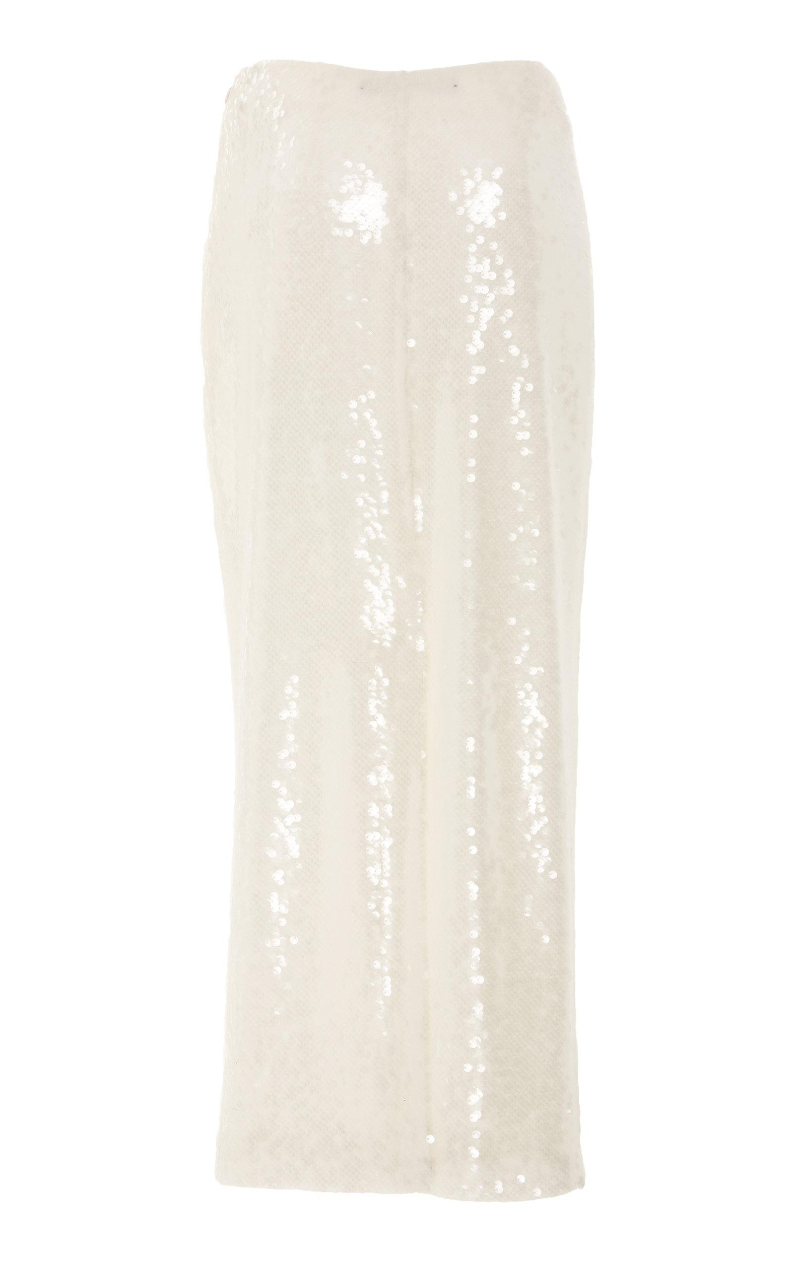 38ad0768bb Sally Lapointe Sequin Midi Pencil Skirt in White - Lyst