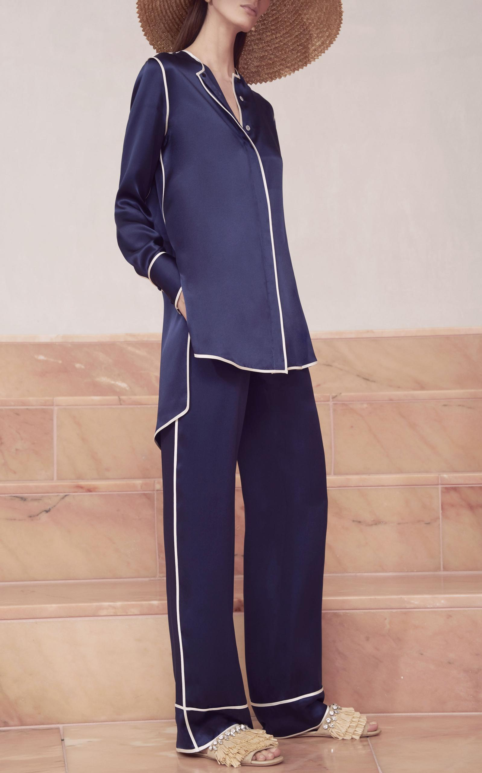 f146d8ffbc76 Lyst - Alexis Ima Collarless Pajama Top in Blue