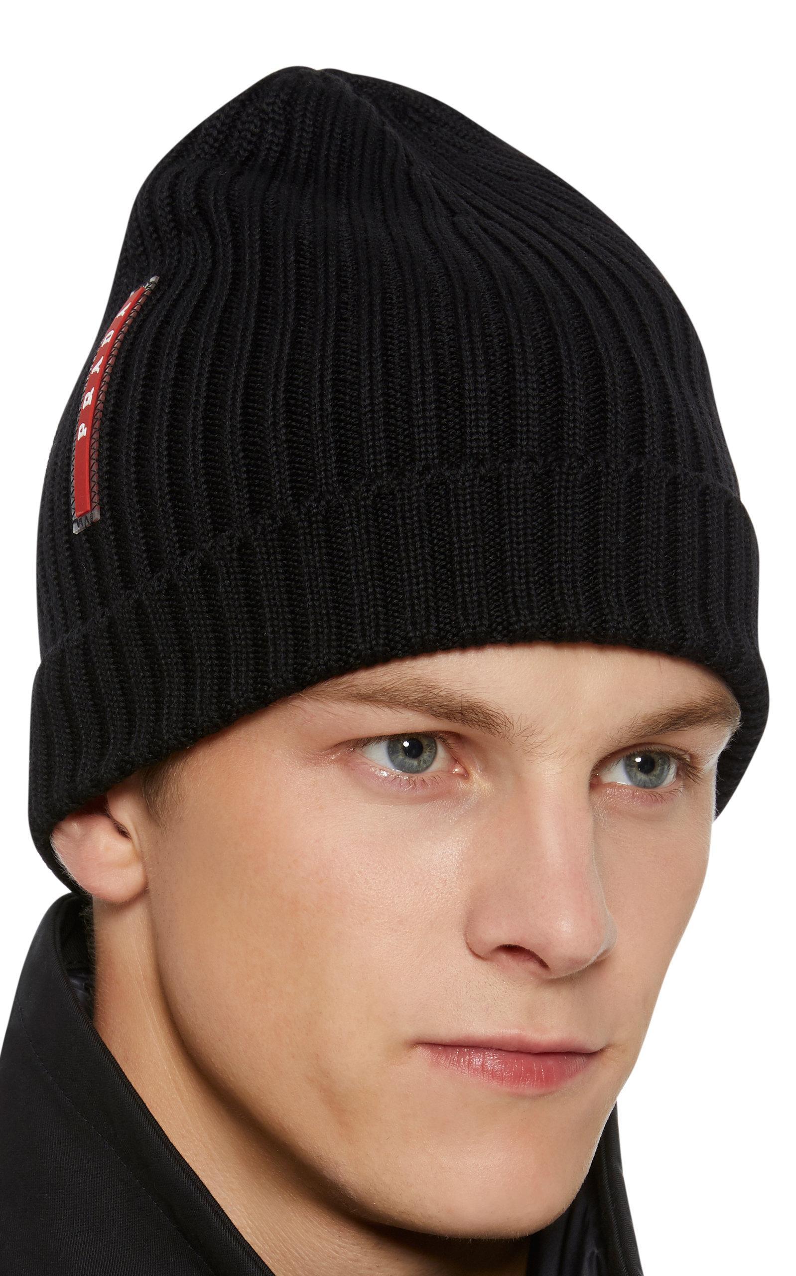 Lyst - Prada Logo-appliquéd Ribbed Wool Beanie in Black for Men ... 1bd8d9827d2f
