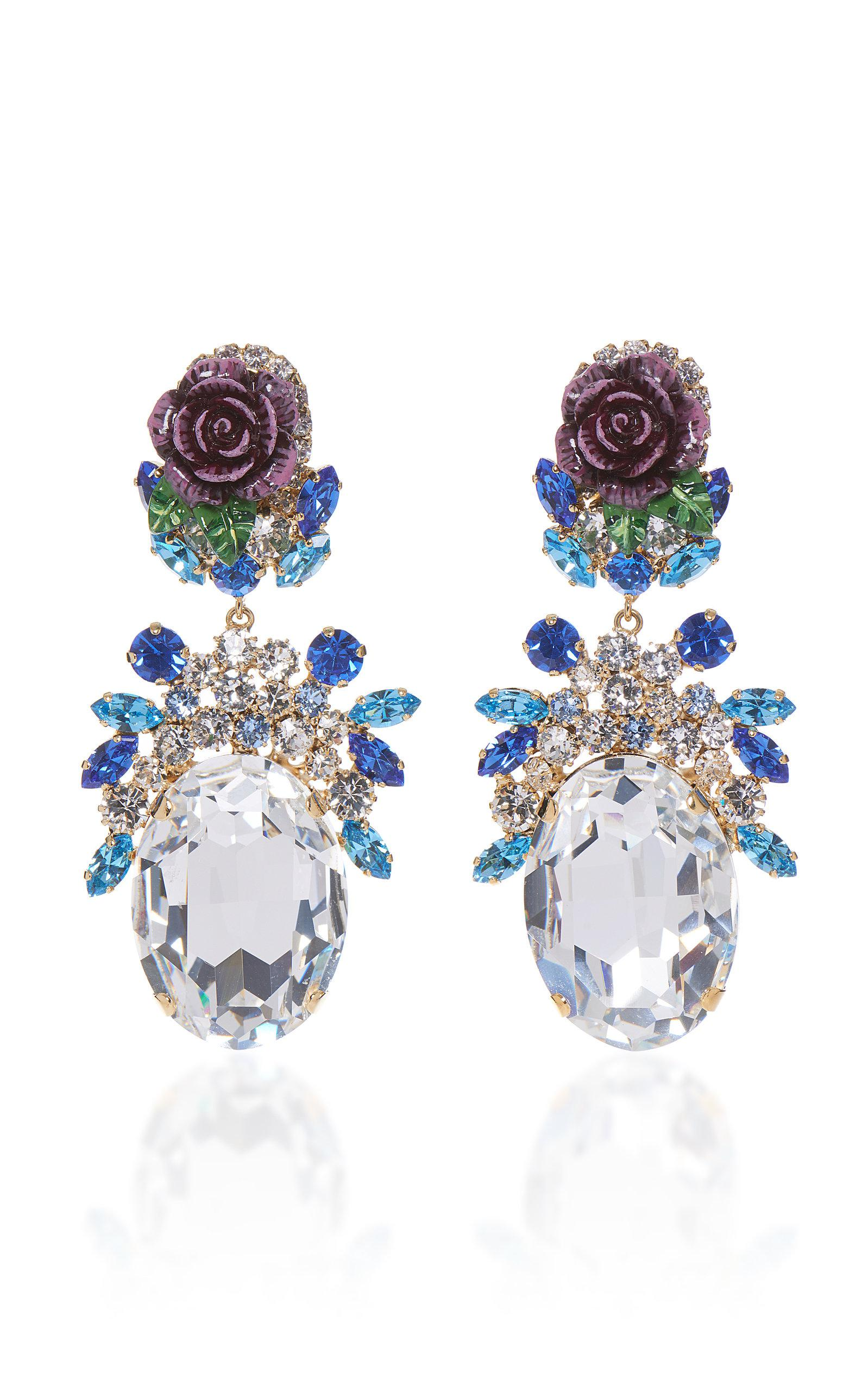 Rosetto Cameo Gold-Tone Brass and Crystal Earrings Dolce & Gabbana gLwbuF2v