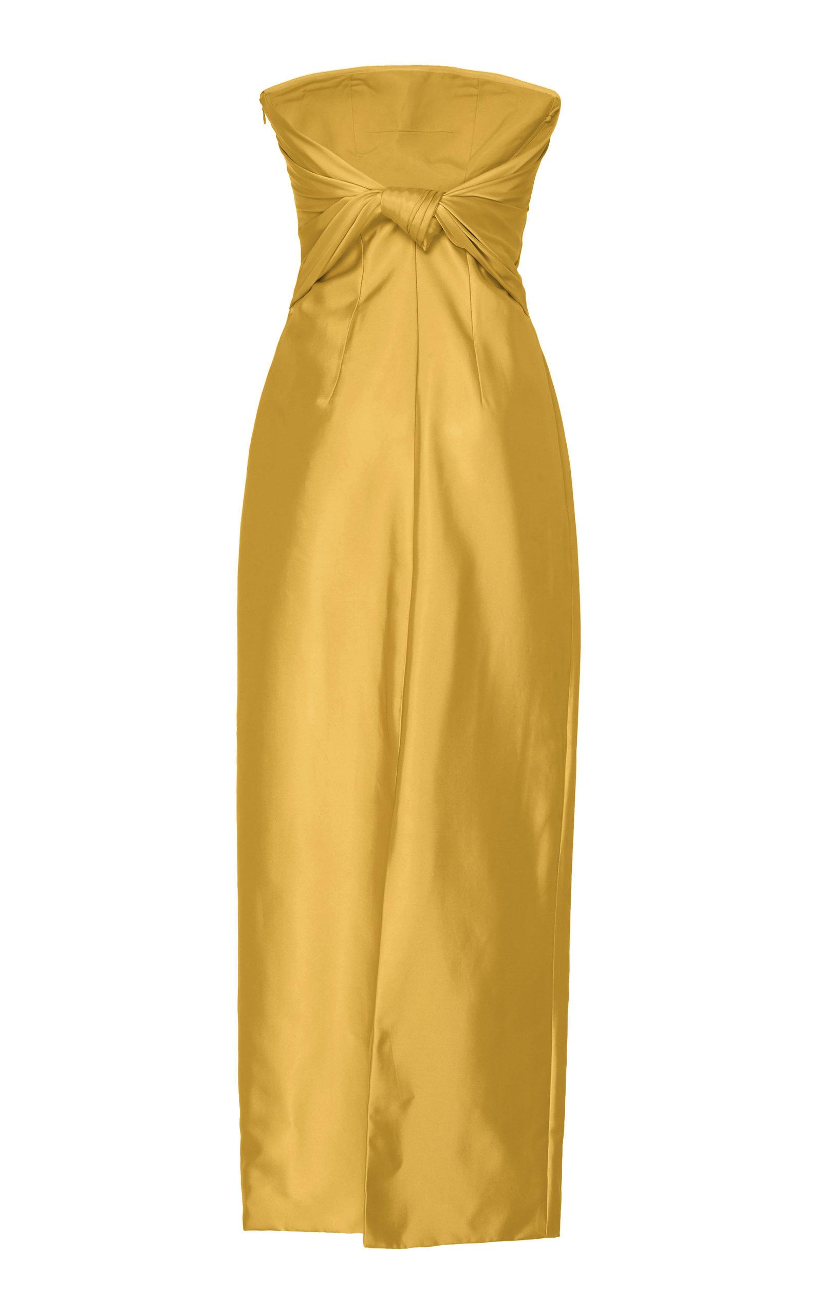 979ede245f1d2 Brandon Maxwell Strapless Knotted-back Satin Cocktail Dress in ...