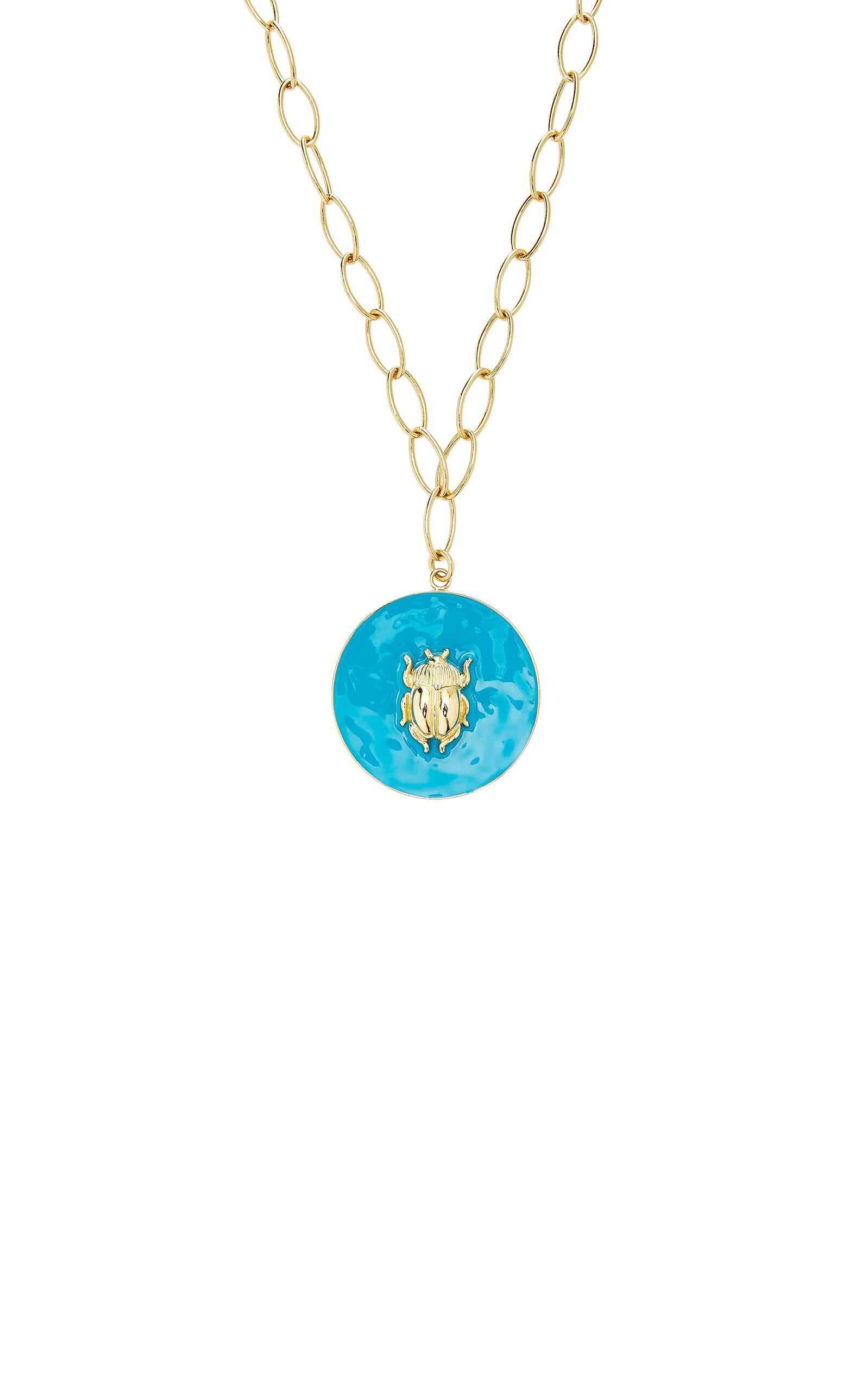 Elvira Scarab Pendant Necklace in Blue Enamel and 18K Gold-Plated Brass Aur 6QvMo