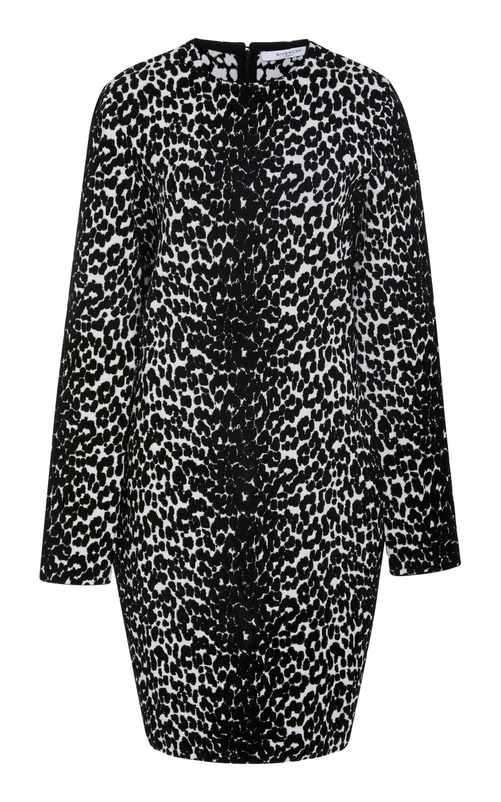 7daefbcbb5 Givenchy - Black Leopard-print Stretch-knit Mini Dress - Lyst. View  fullscreen