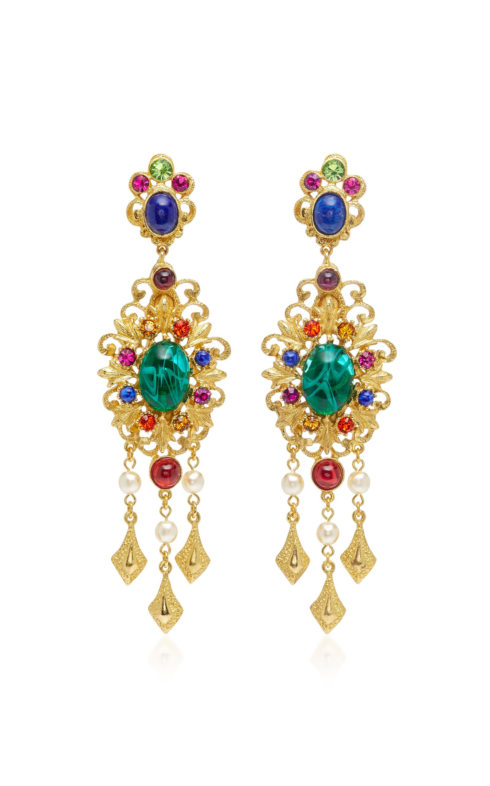 Ben-Amun Crystal Peacock Clip-On Earrings eQQg3z
