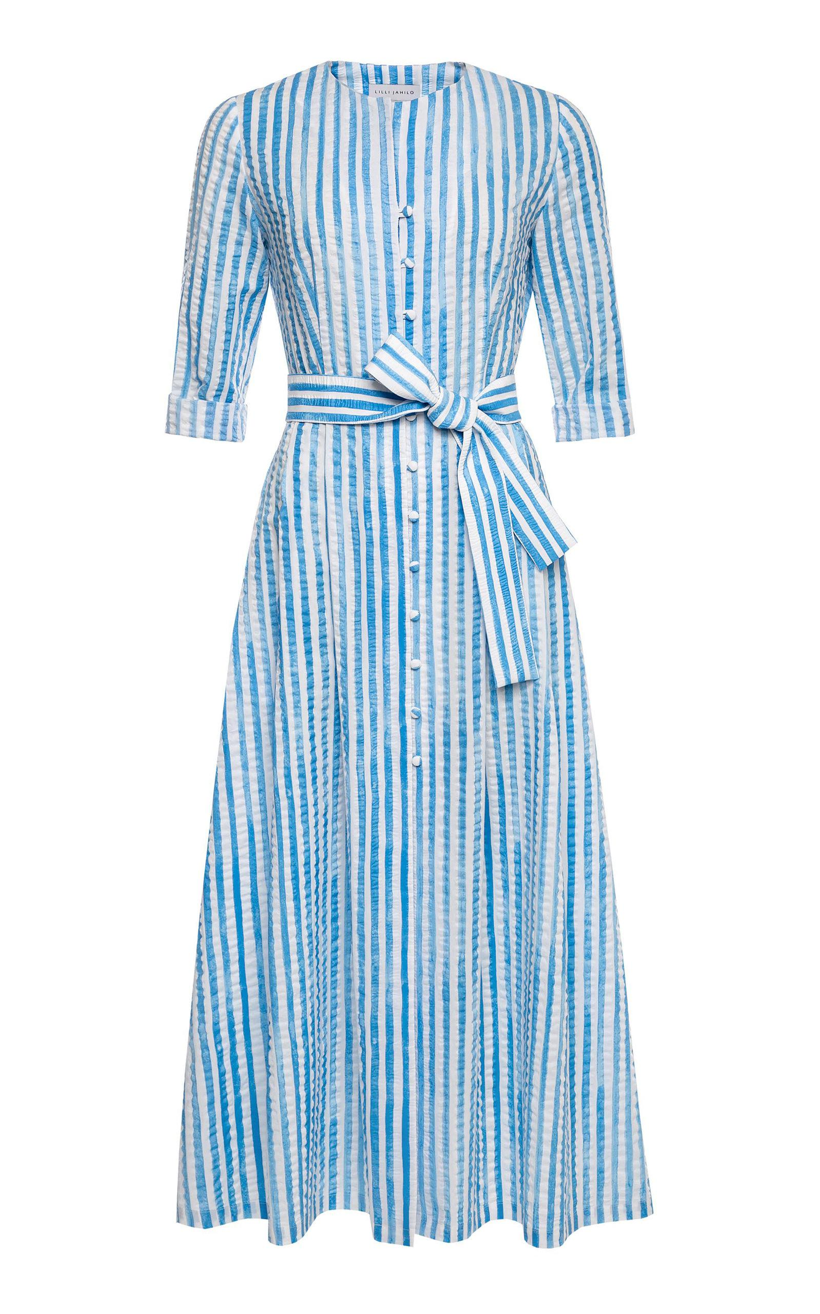 8771b89c45b Lyst - Lilli Jahilo Ellen Cotton Dress With Knife Pleats in Blue