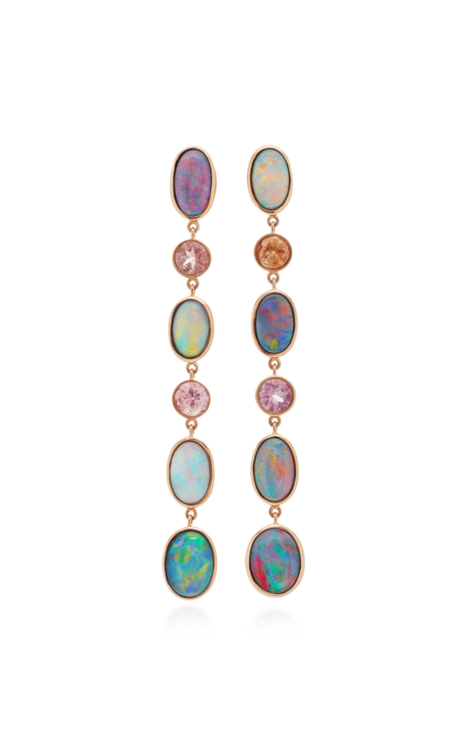 One-Of-A-Kind Black Opal And Pastel Tourmaline Hoops Katherine Jetter