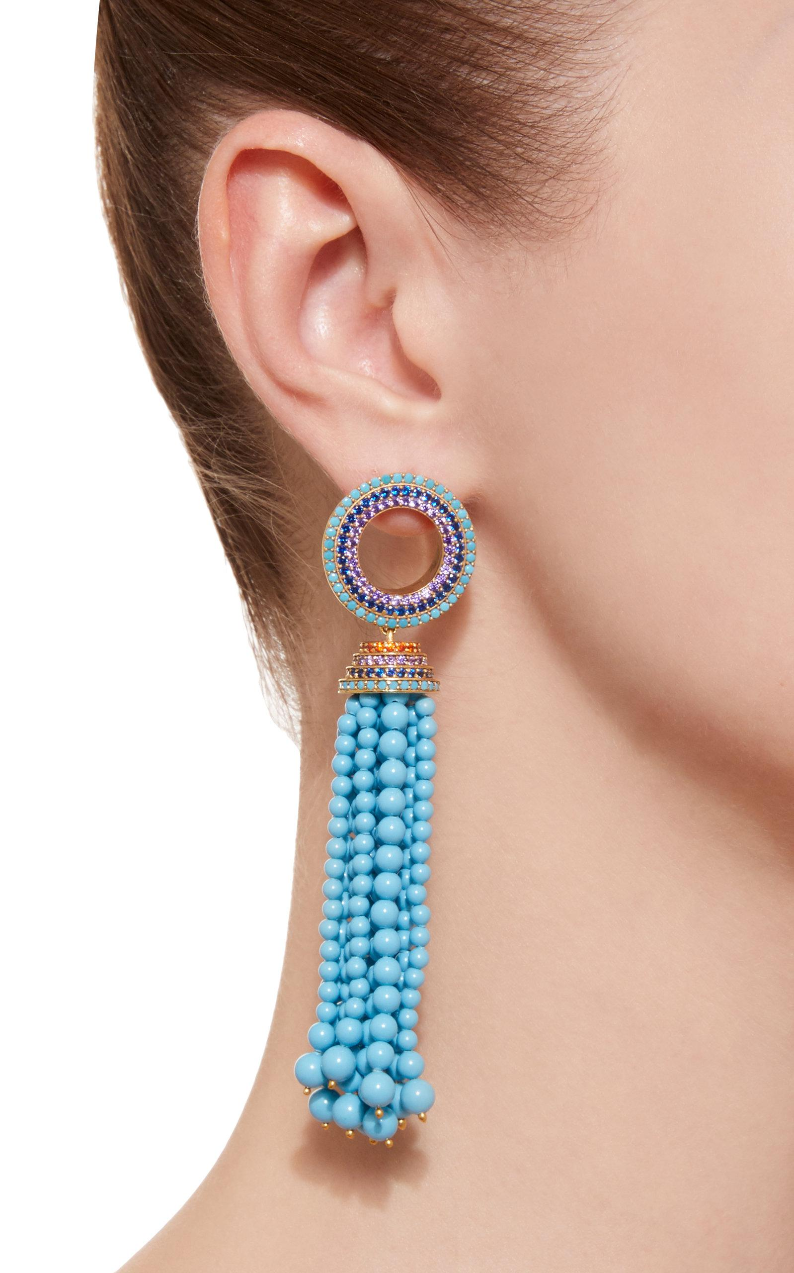 Grommet Tassel Gold-Plated Brass and Cubic Zirconia Earrings Joanna Laura Constantine QOHosC
