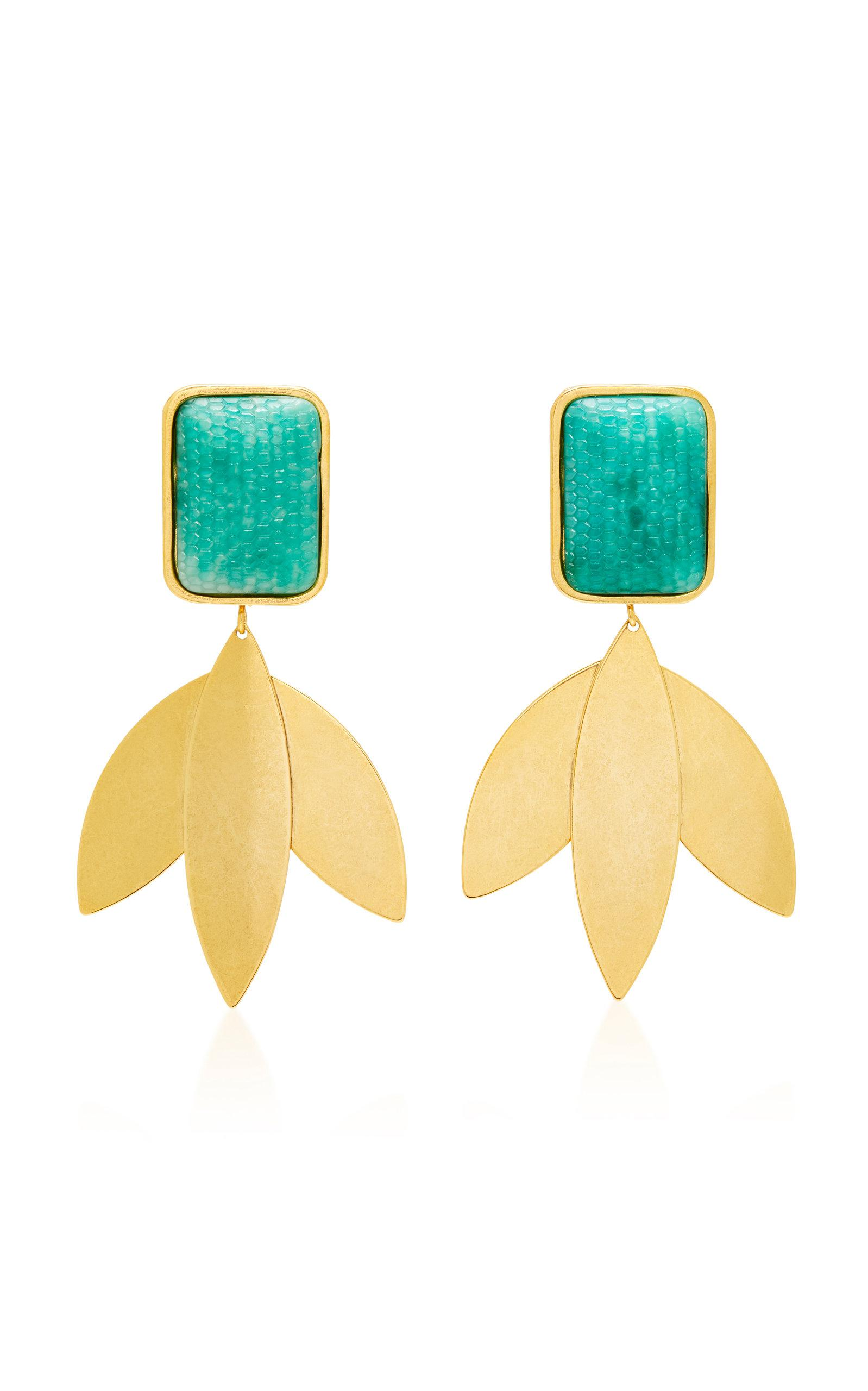 Freeborn Gold-Plated Brass And Green Snake-Effect Earrings Nicole Romano qb6ZYqbox