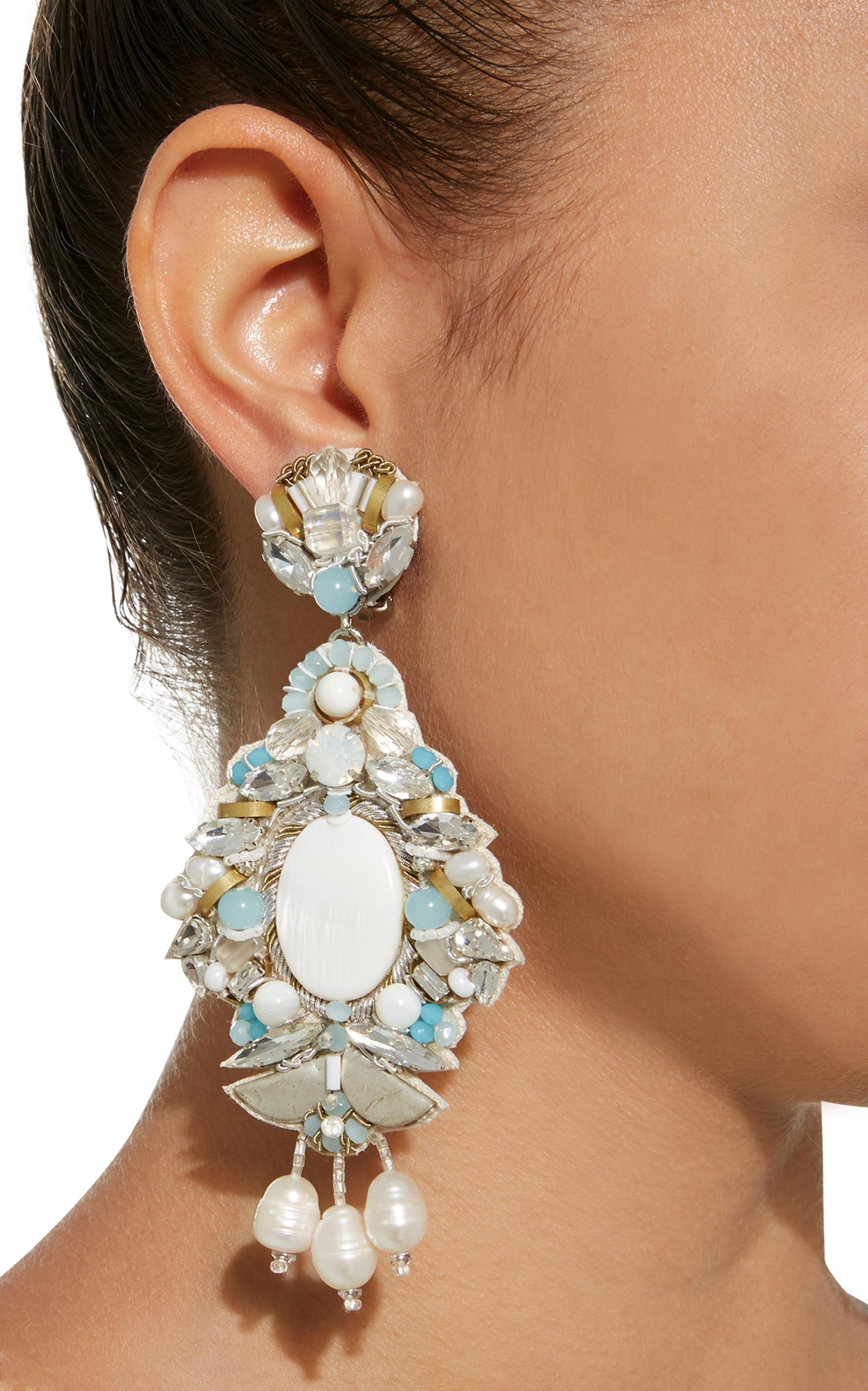 MO Exclusive White Fringe and Mother of Pearl Hoop Drop Earring Ranjana Khan XfKEsAc