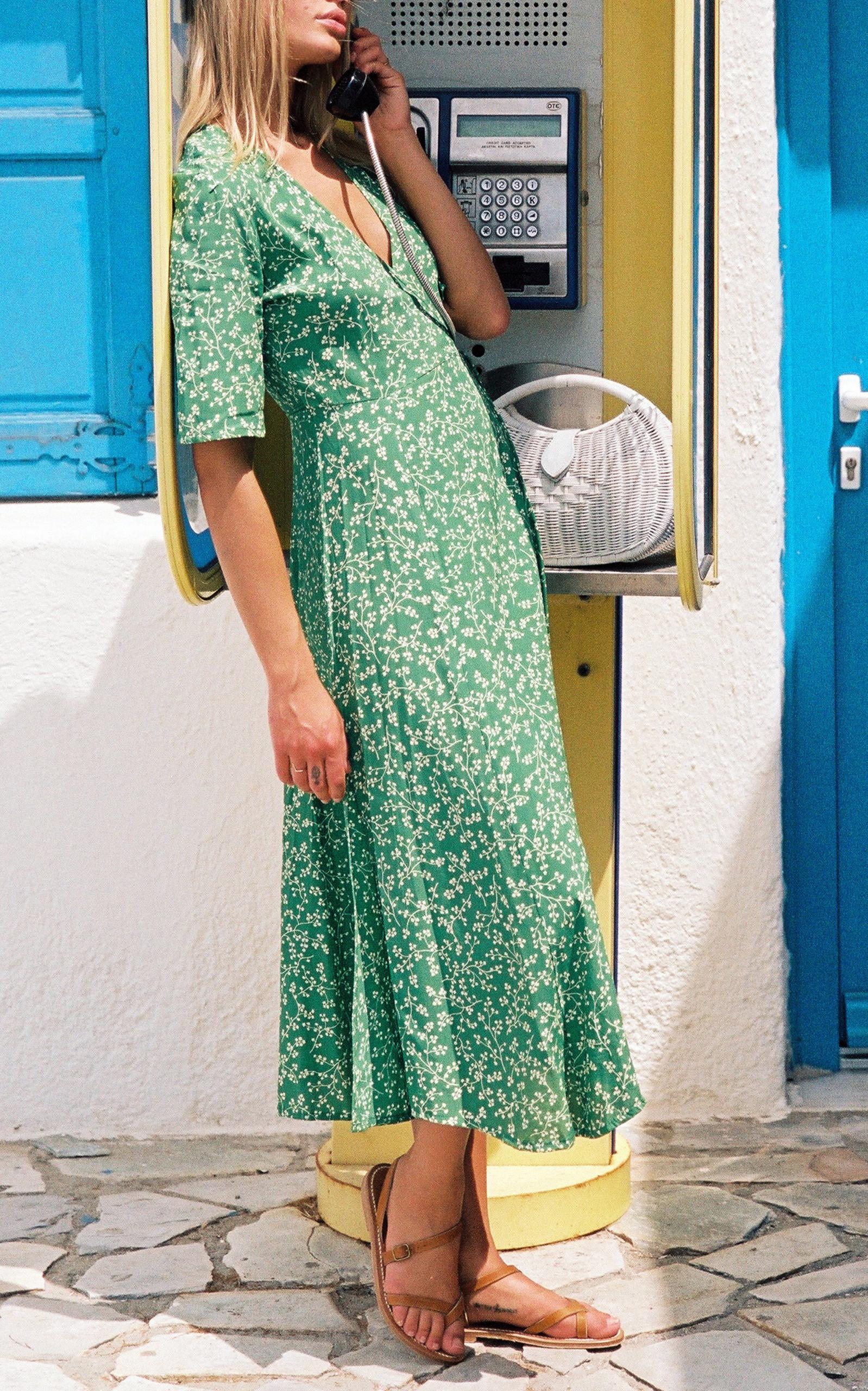 87afec0e1d08 Lyst - Faithfull The Brand Rivera Midi Dress in Green