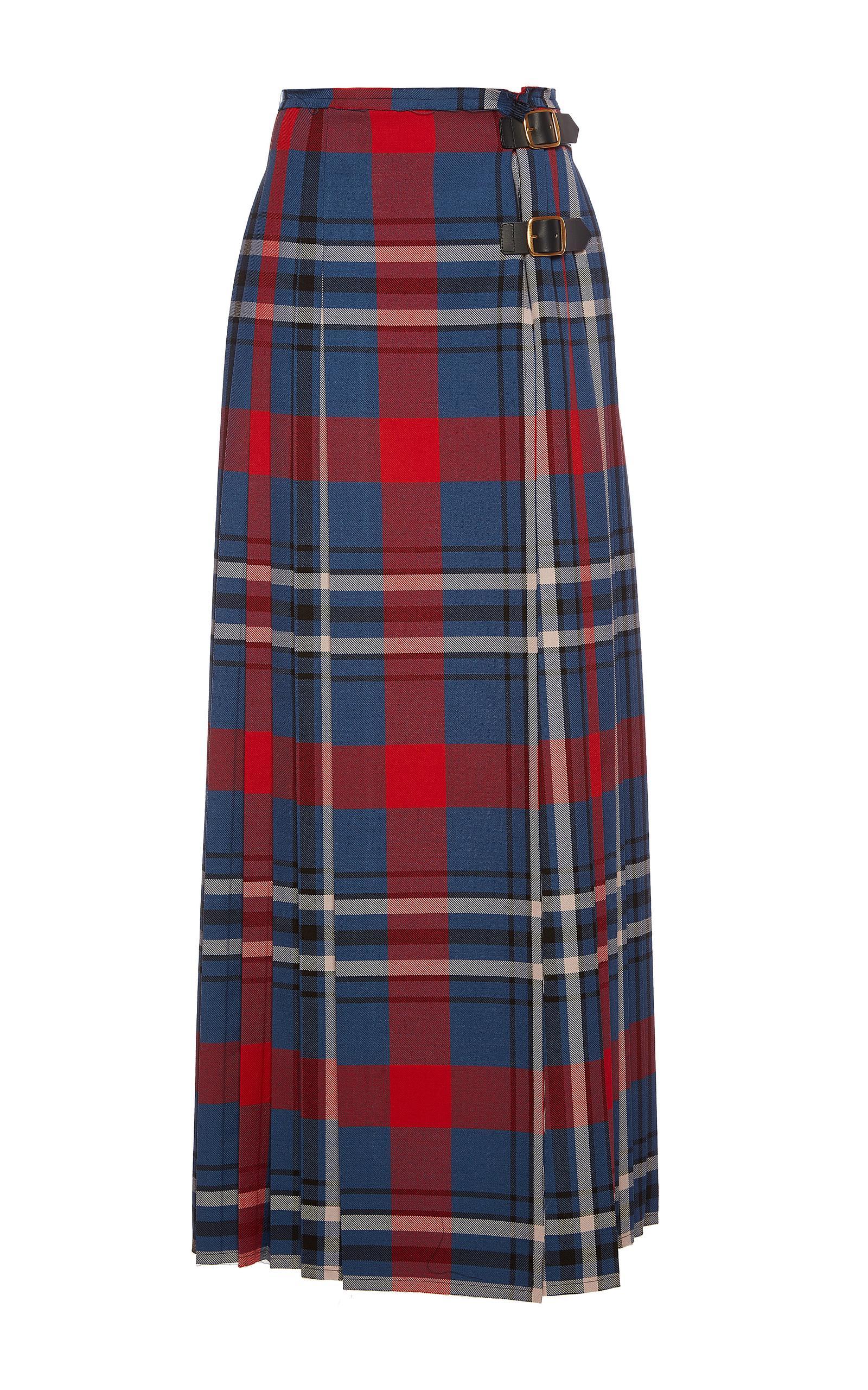 philosophy di lorenzo serafini pleated plaid maxi skirt lyst
