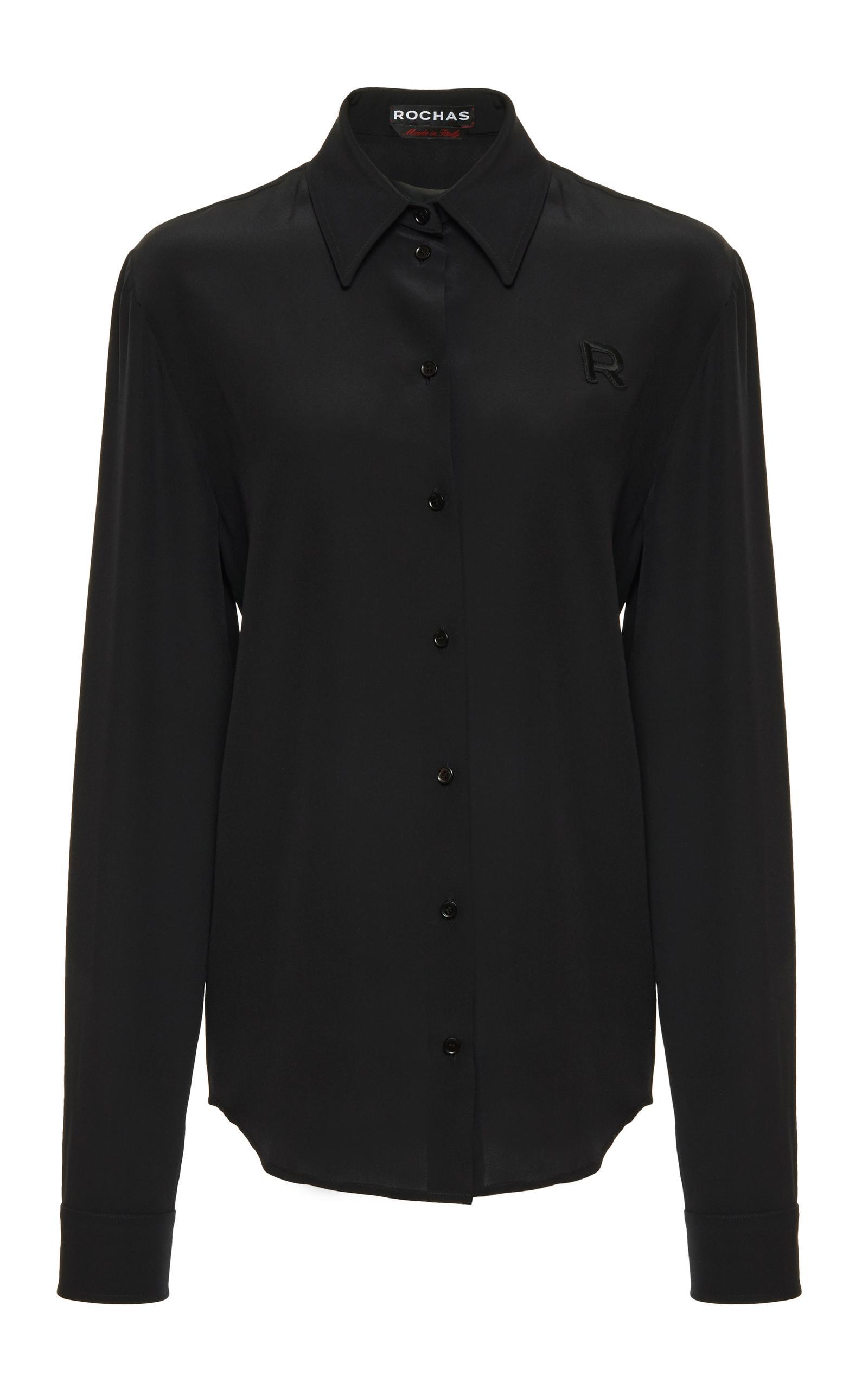 Rochas basic silk button down shirt in black lyst for Black silk button down shirt