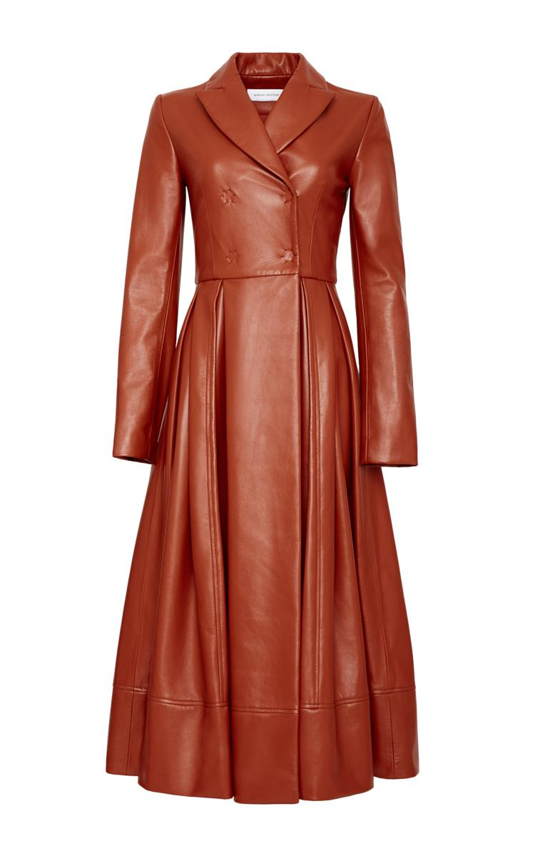 Marina moscone Leather Coat Dress in Brown | Lyst